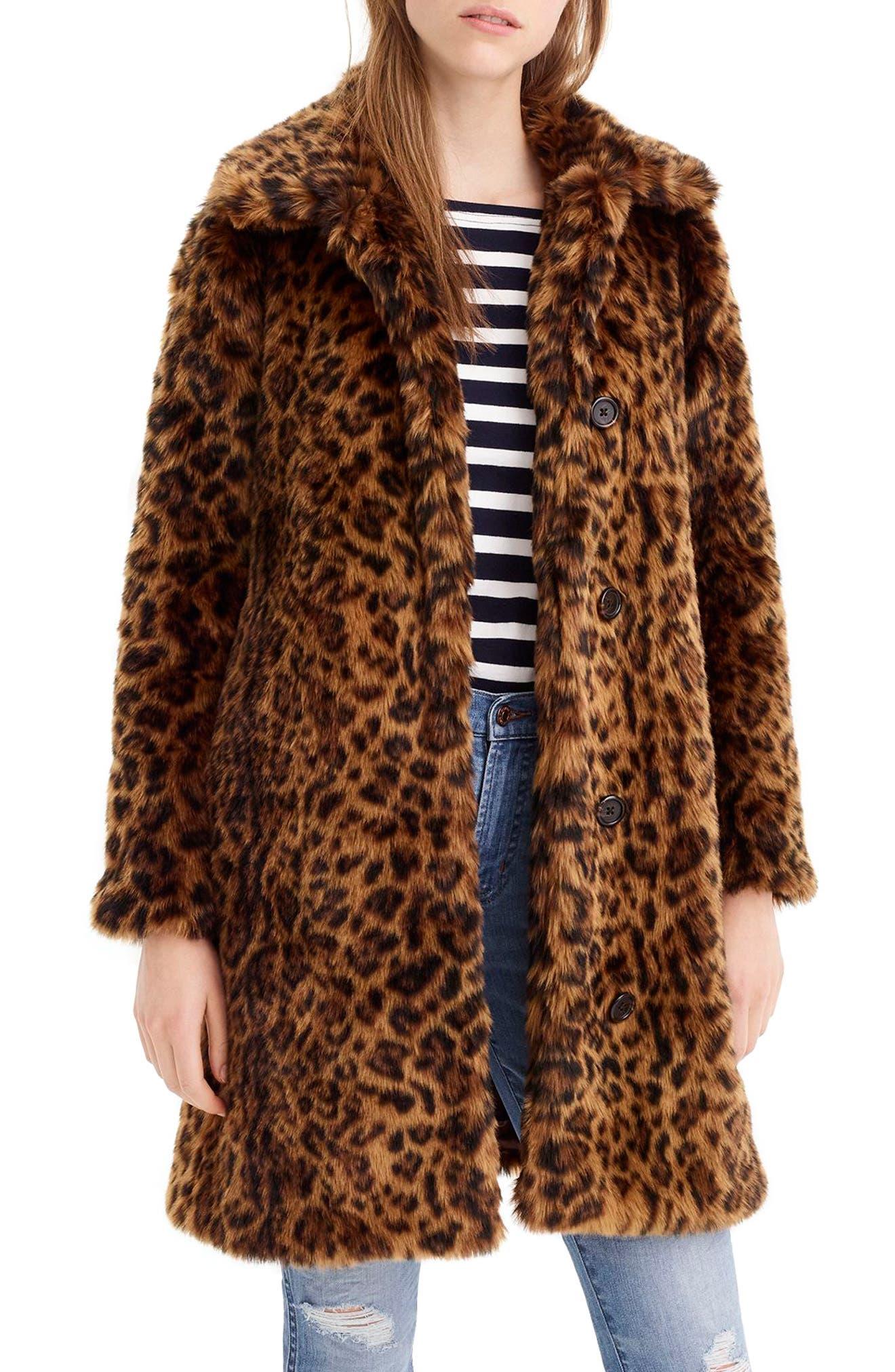 Leopard Print Faux Fur Coat, Main, color, LEOPARD