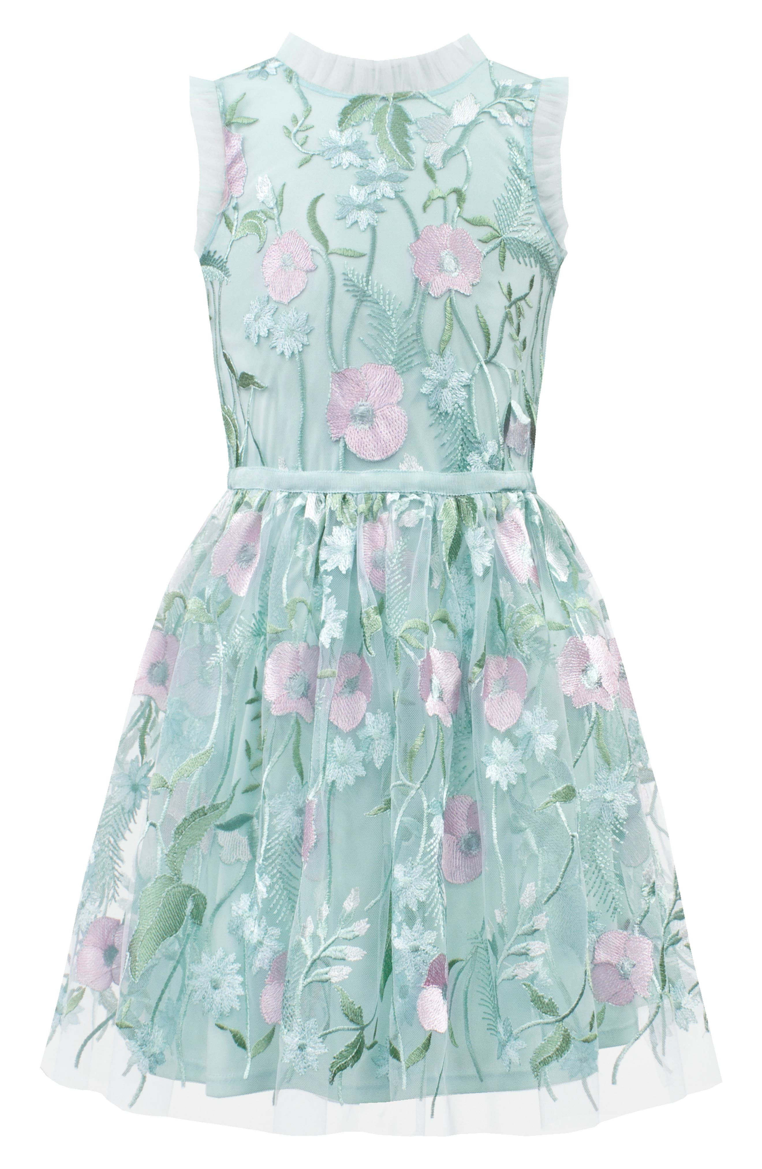 Pastel Embroidered Tulle Dress,                             Main thumbnail 1, color,                             BLUE