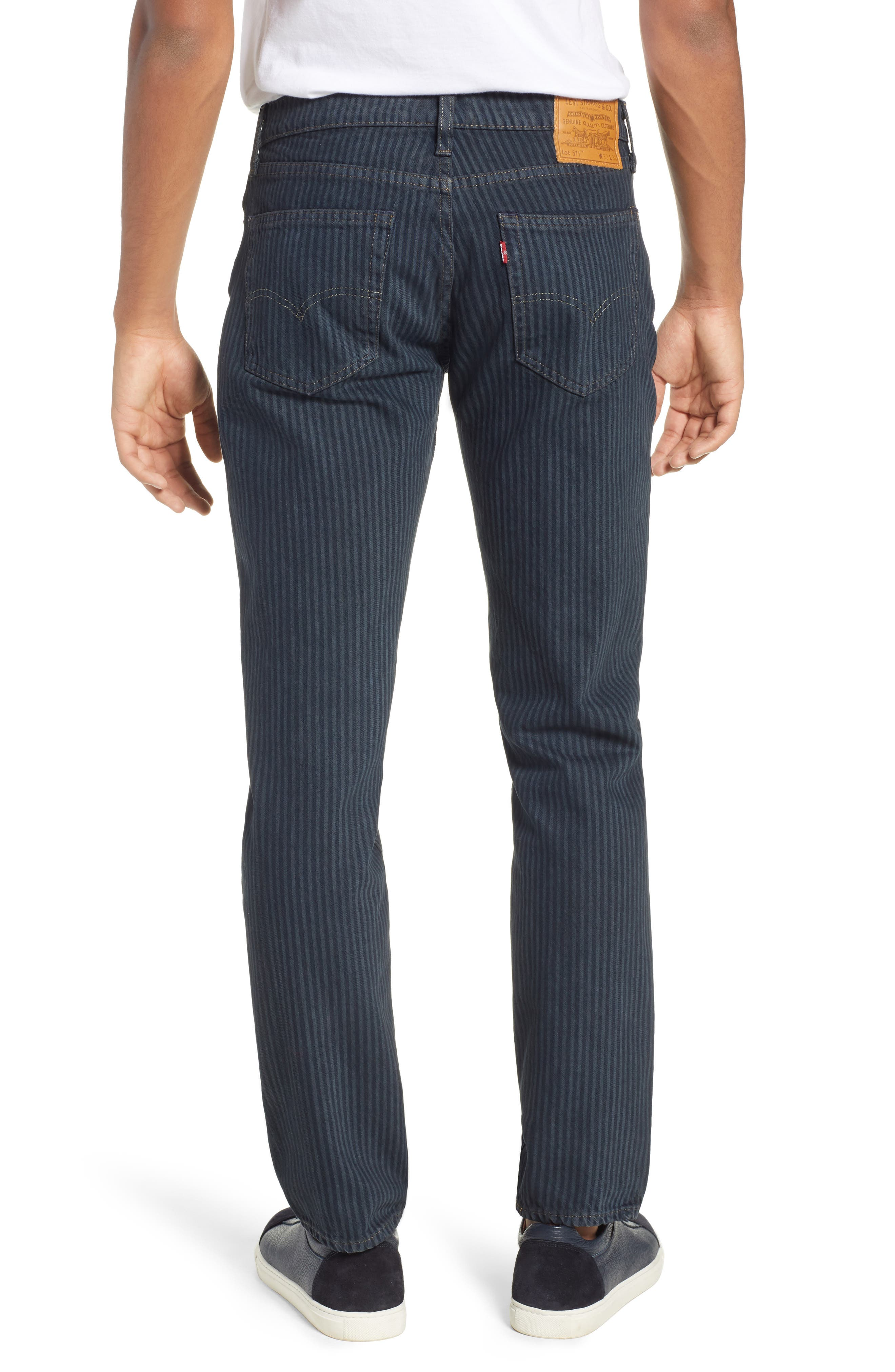 511<sup>™</sup> Stripe Slim Fit Jeans,                             Alternate thumbnail 2, color,                             DARK ONLY