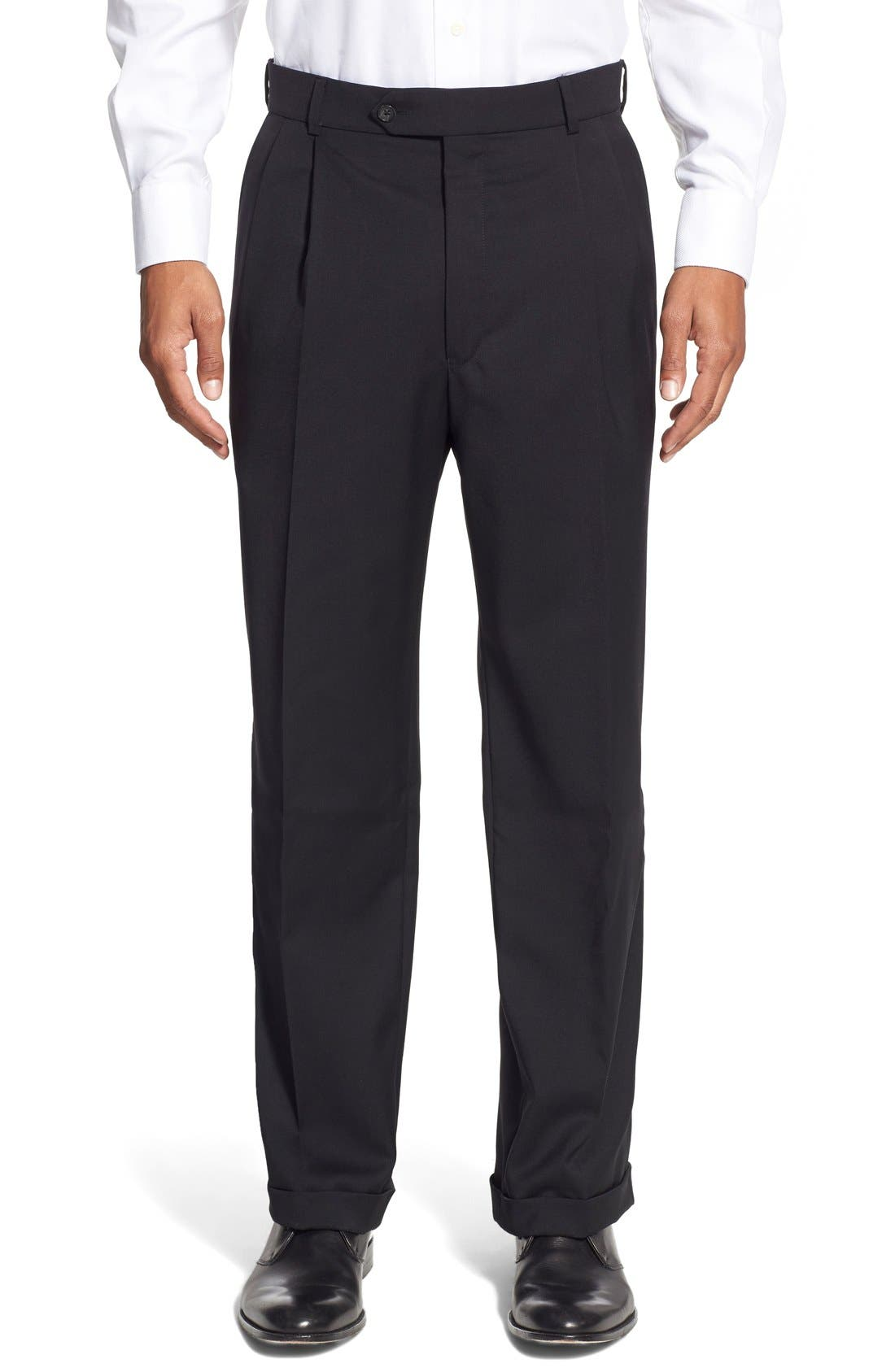 Pleated Solid Wool Trousers,                             Main thumbnail 3, color,