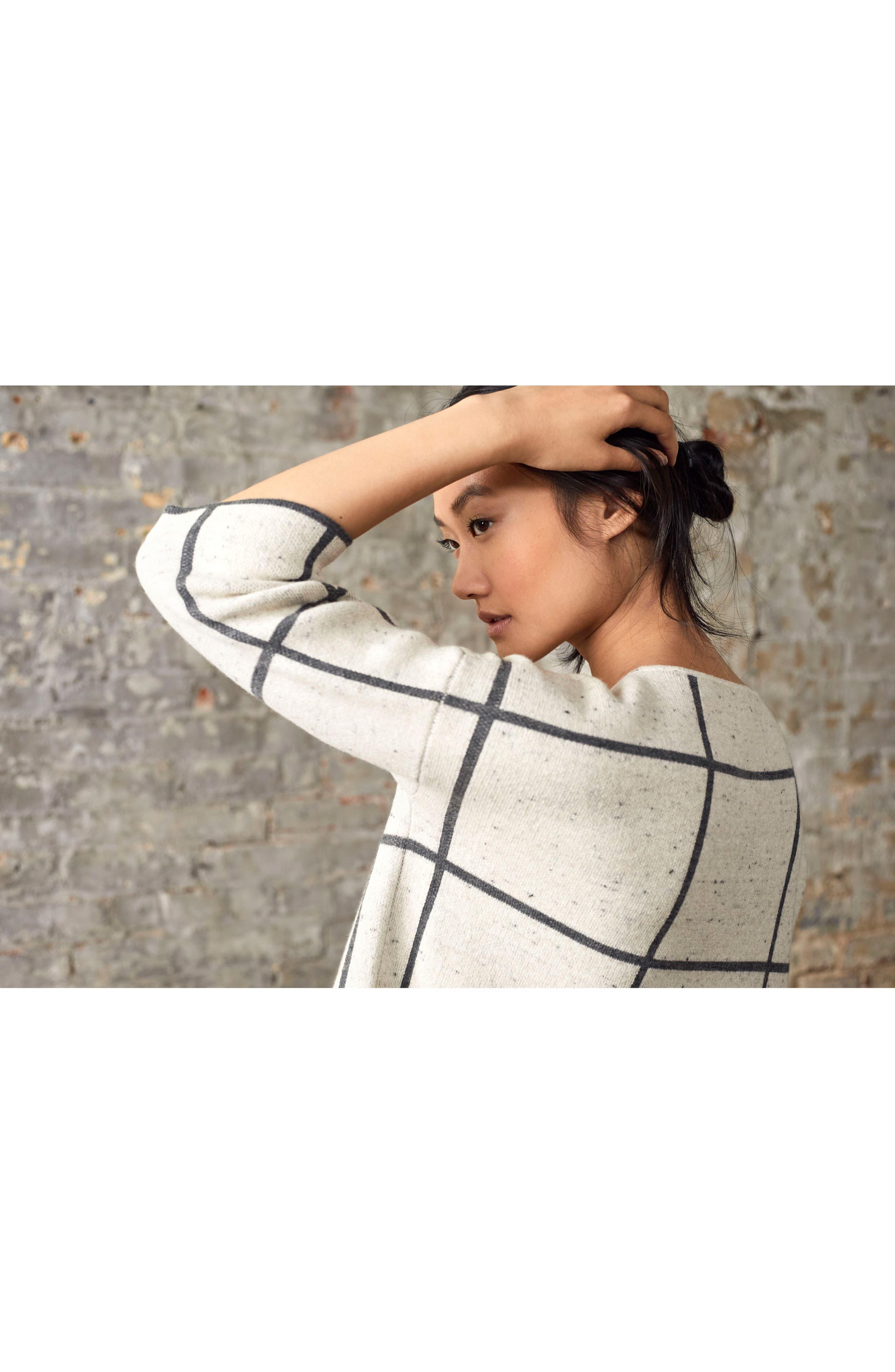 Windowpane Check Boxy Sweater,                             Alternate thumbnail 8, color,