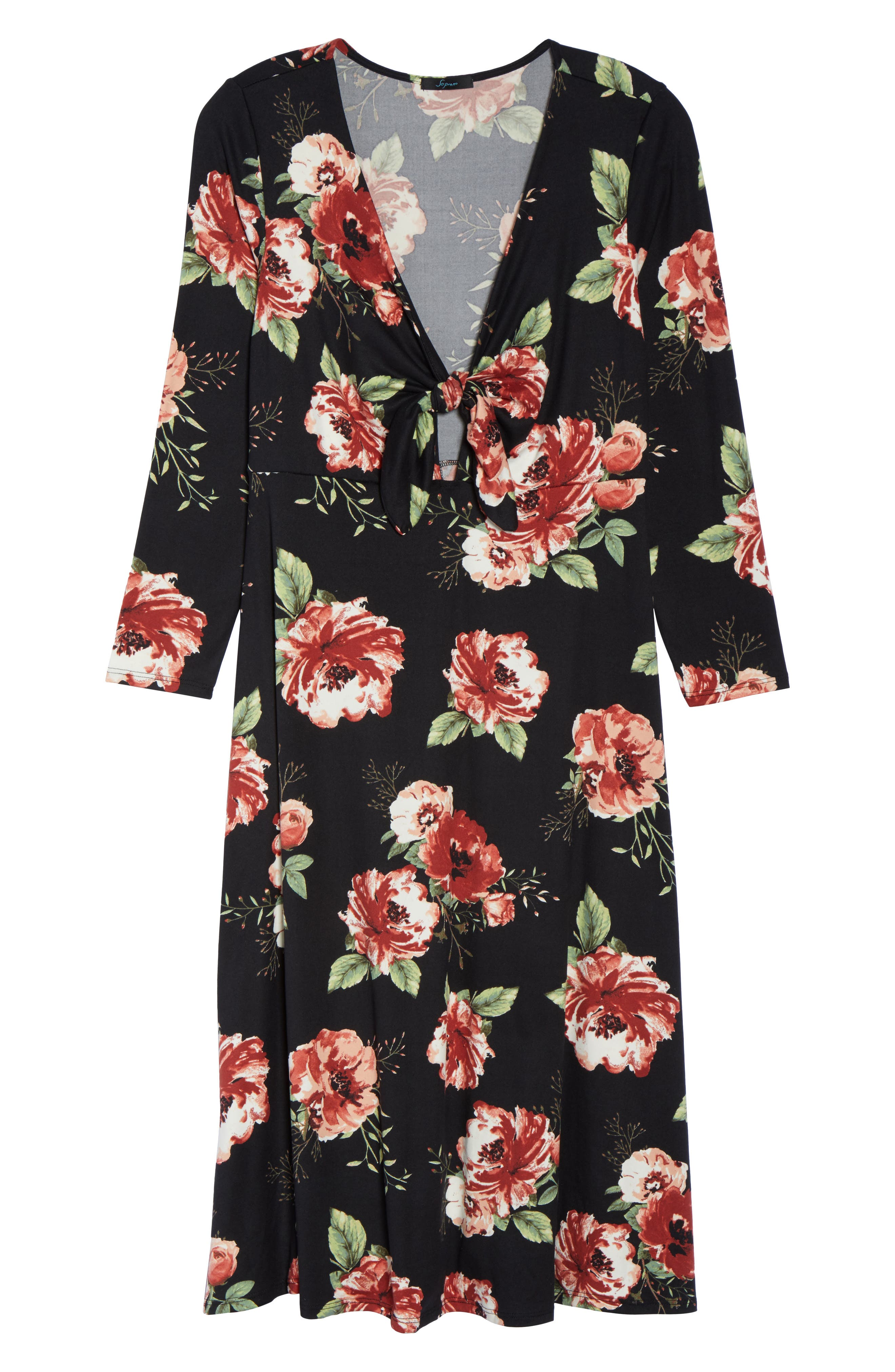 Plunging Floral Midi Dress,                             Alternate thumbnail 6, color,                             001