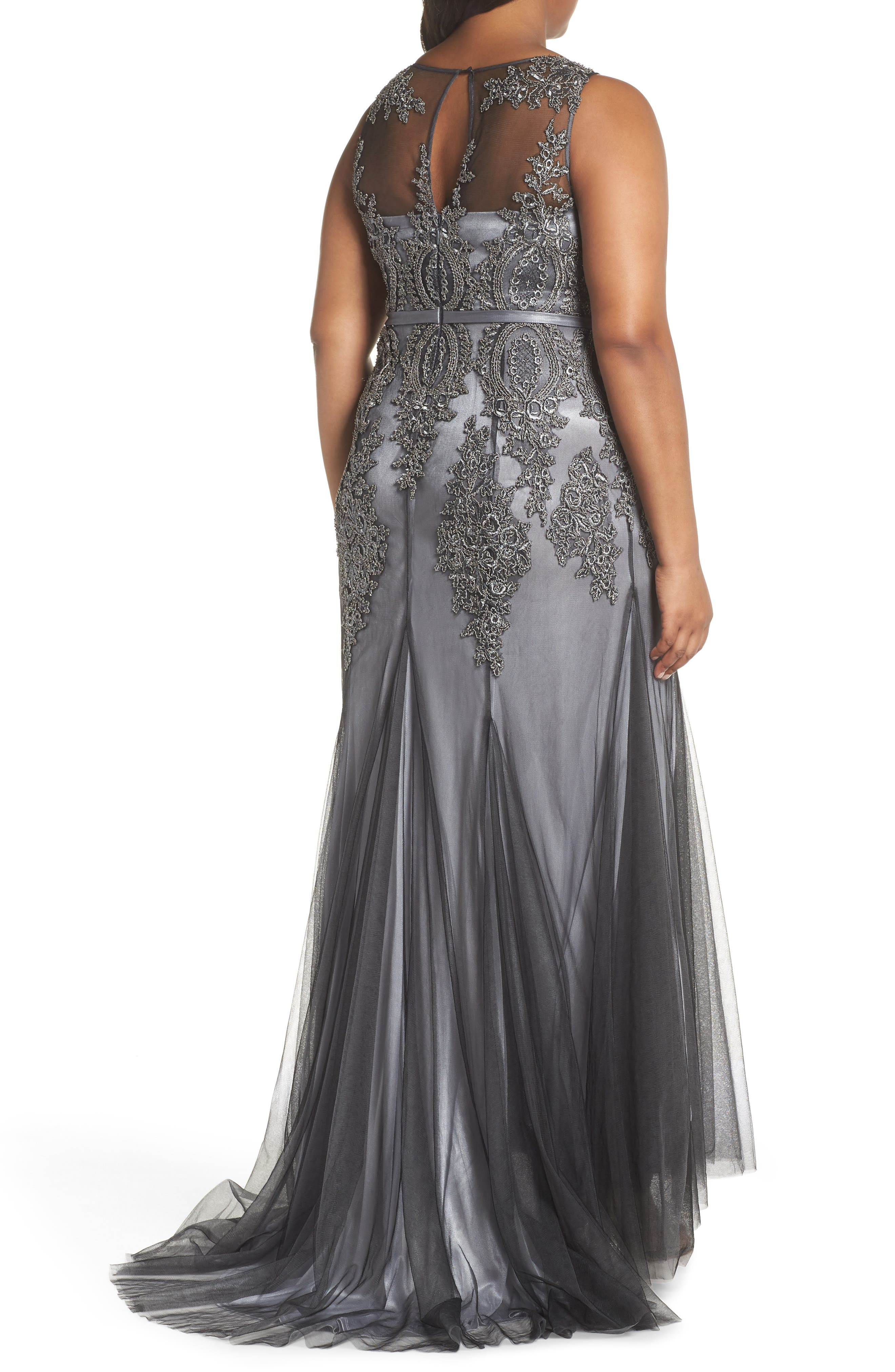 Beaded Godet Mesh Trumpet Gown,                             Alternate thumbnail 2, color,                             CHARCOAL