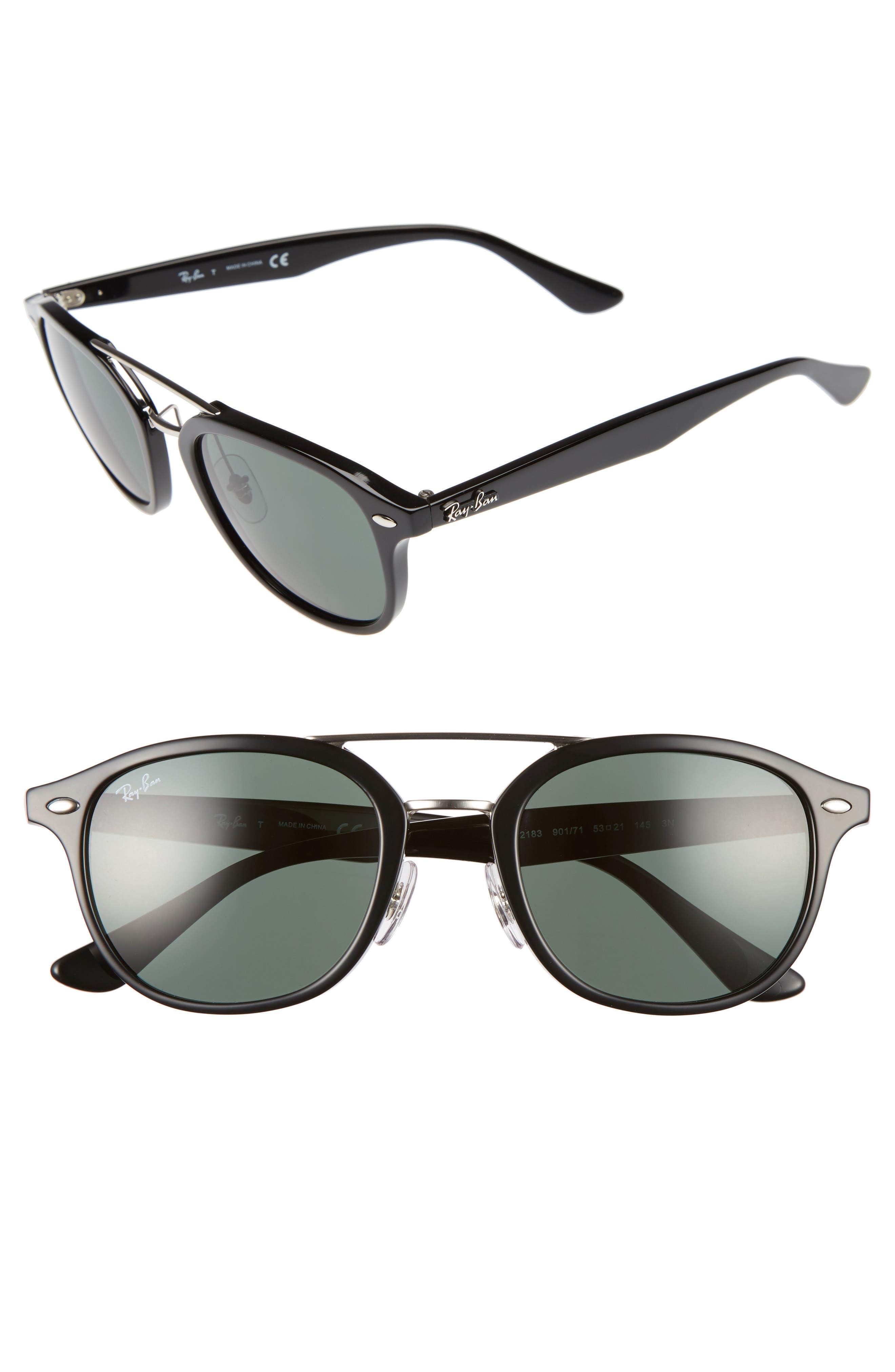 Highstreet 53mm Sunglasses,                             Main thumbnail 1, color,                             BLACK/ GREEN