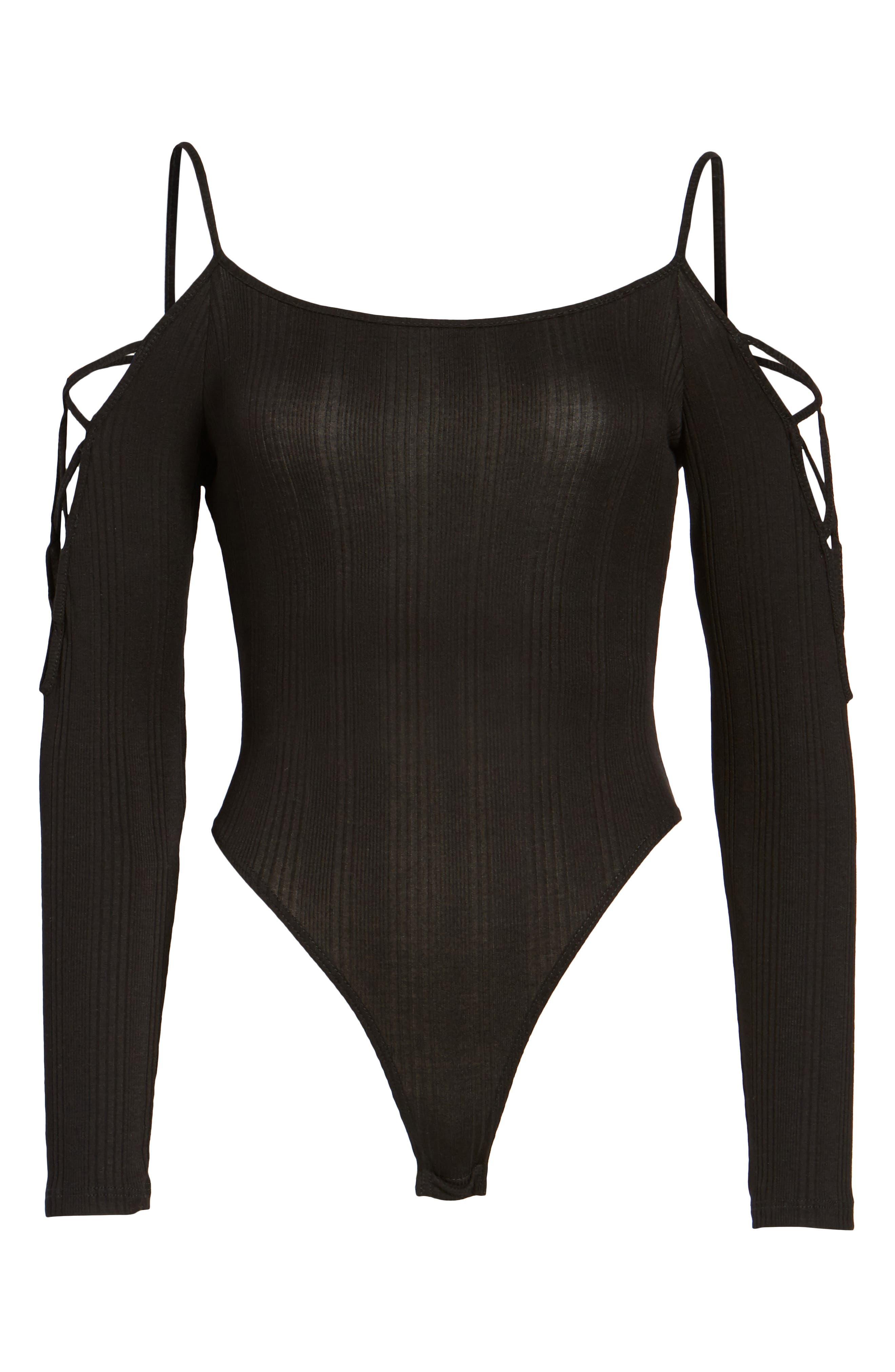 Lace Sleeve Cold Shoulder Bodysuit,                             Alternate thumbnail 6, color,                             001