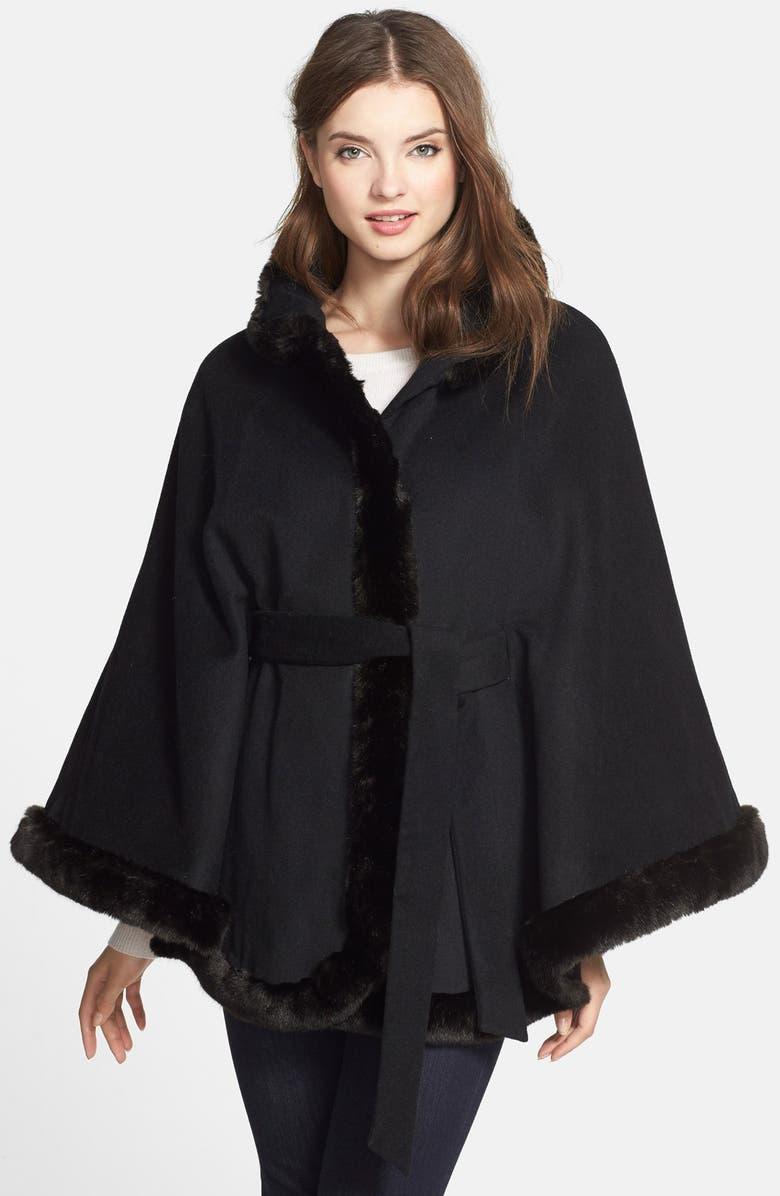 cee35f9abd9 Ellen Tracy Faux Fur Trim Cape (Online Only)