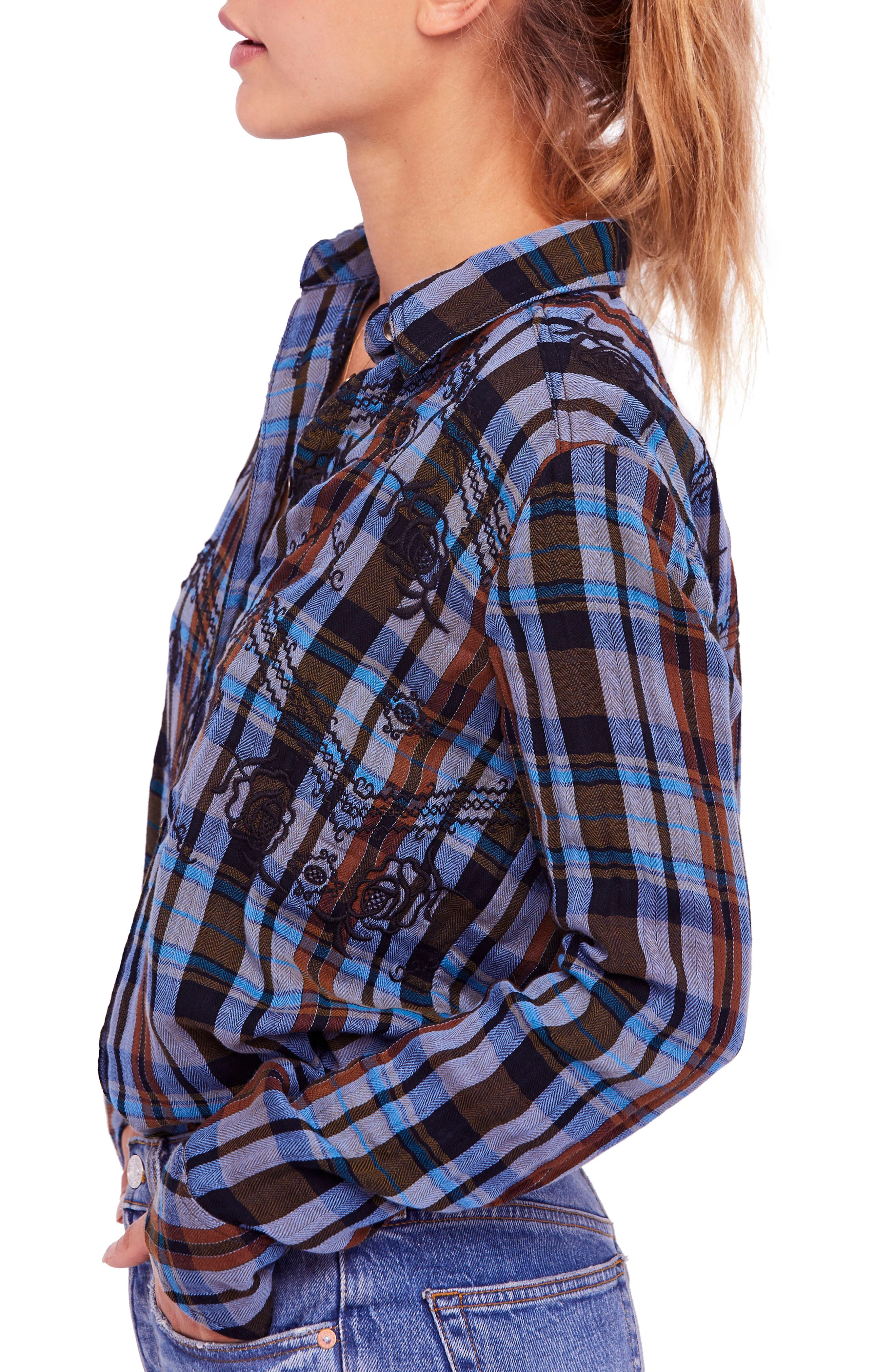 FREE PEOPLE,                             Magical Plaid Embroidered Shirt,                             Alternate thumbnail 3, color,                             001