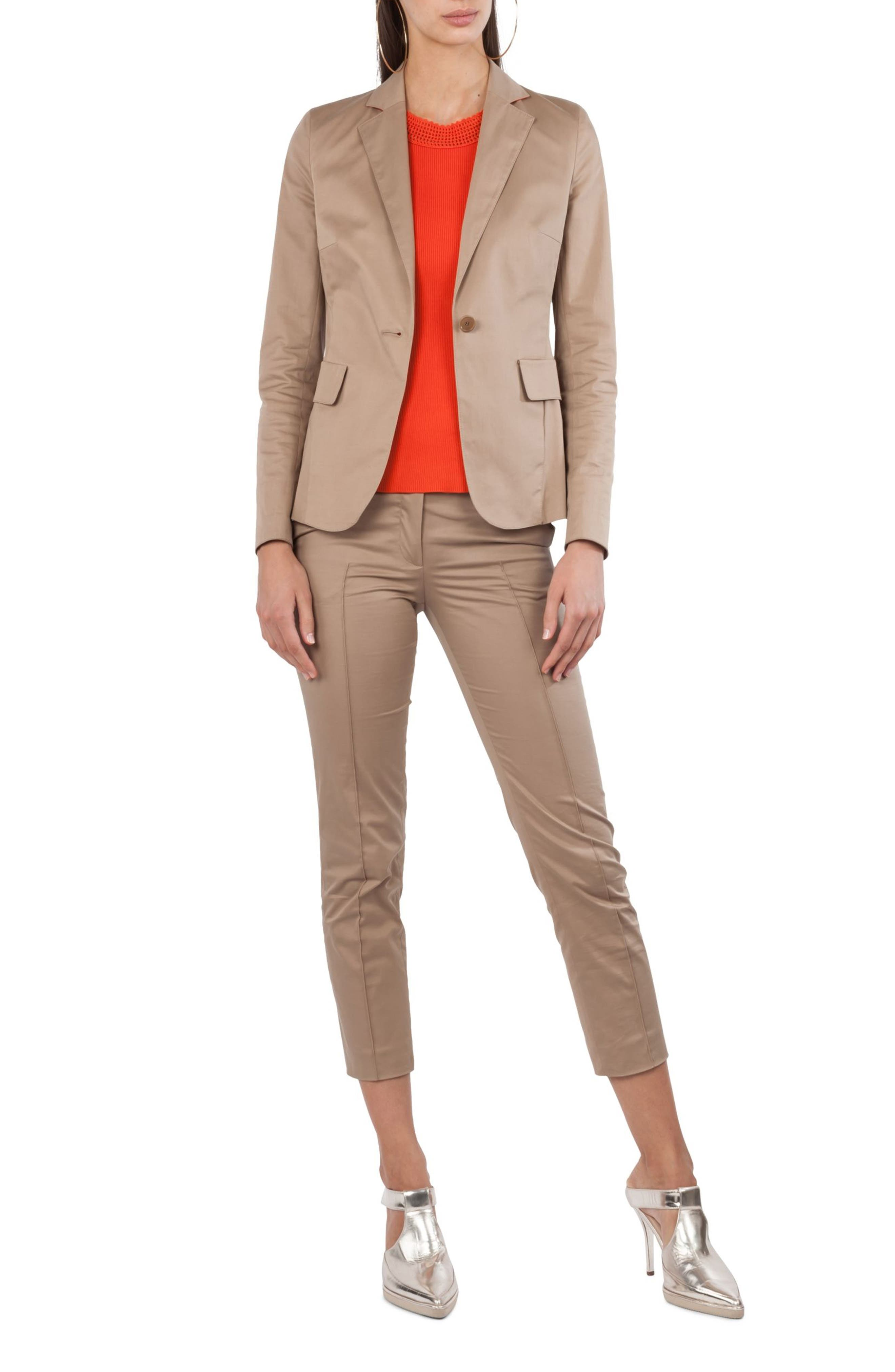 One Button Stretch Cotton Blazer,                         Main,                         color, 253