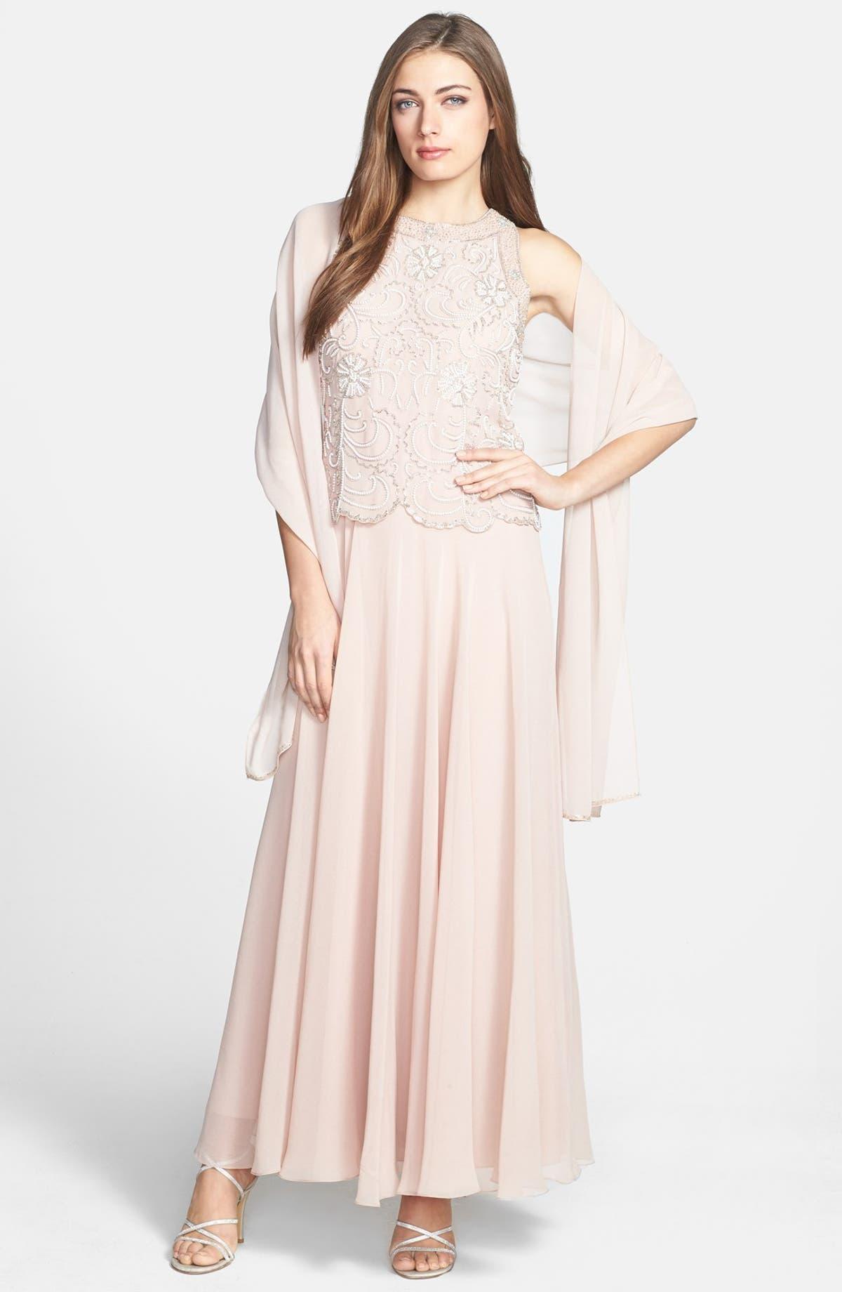J Kara Beaded Bodice Chiffon Gown with Scarf (Regular & Petite ...