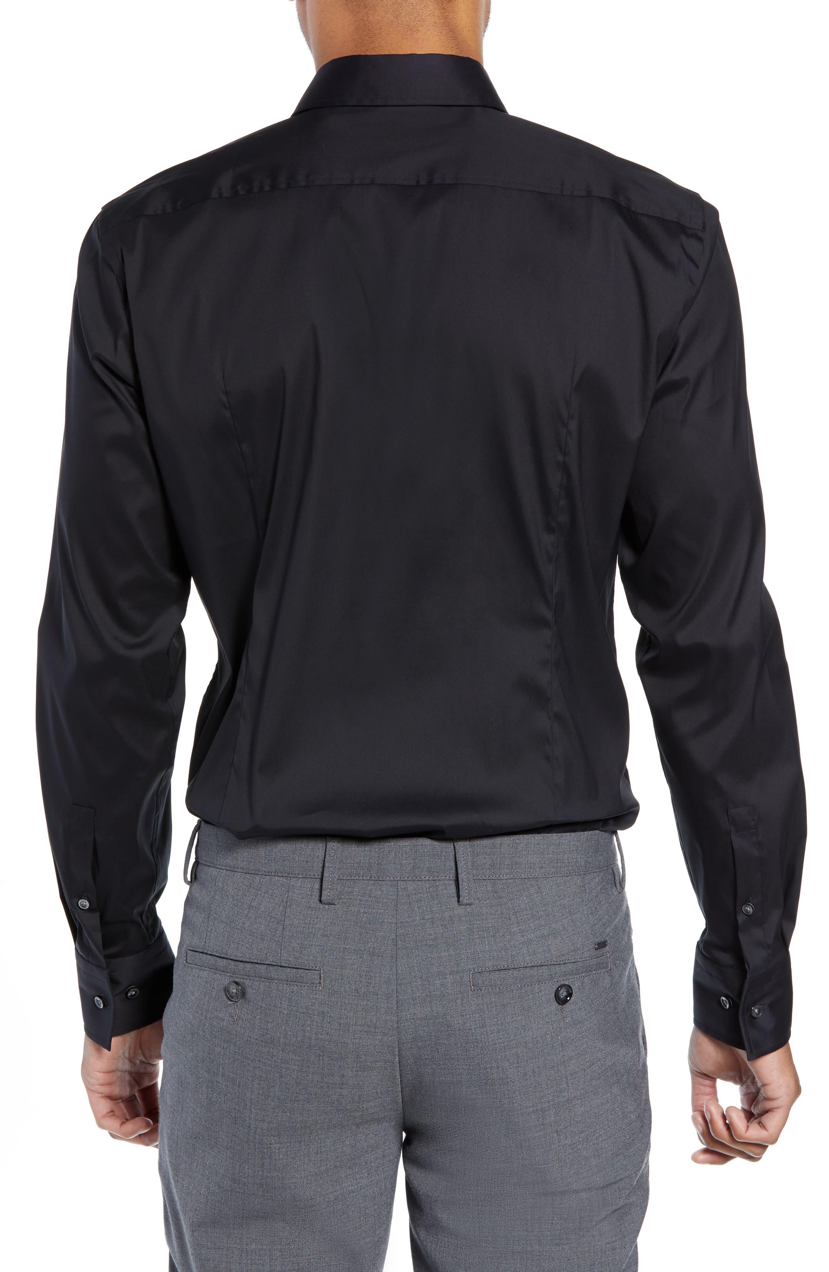 Jenno Slim Fit Stretch Solid Dress Shirt,                             Alternate thumbnail 3, color,                             BLACK