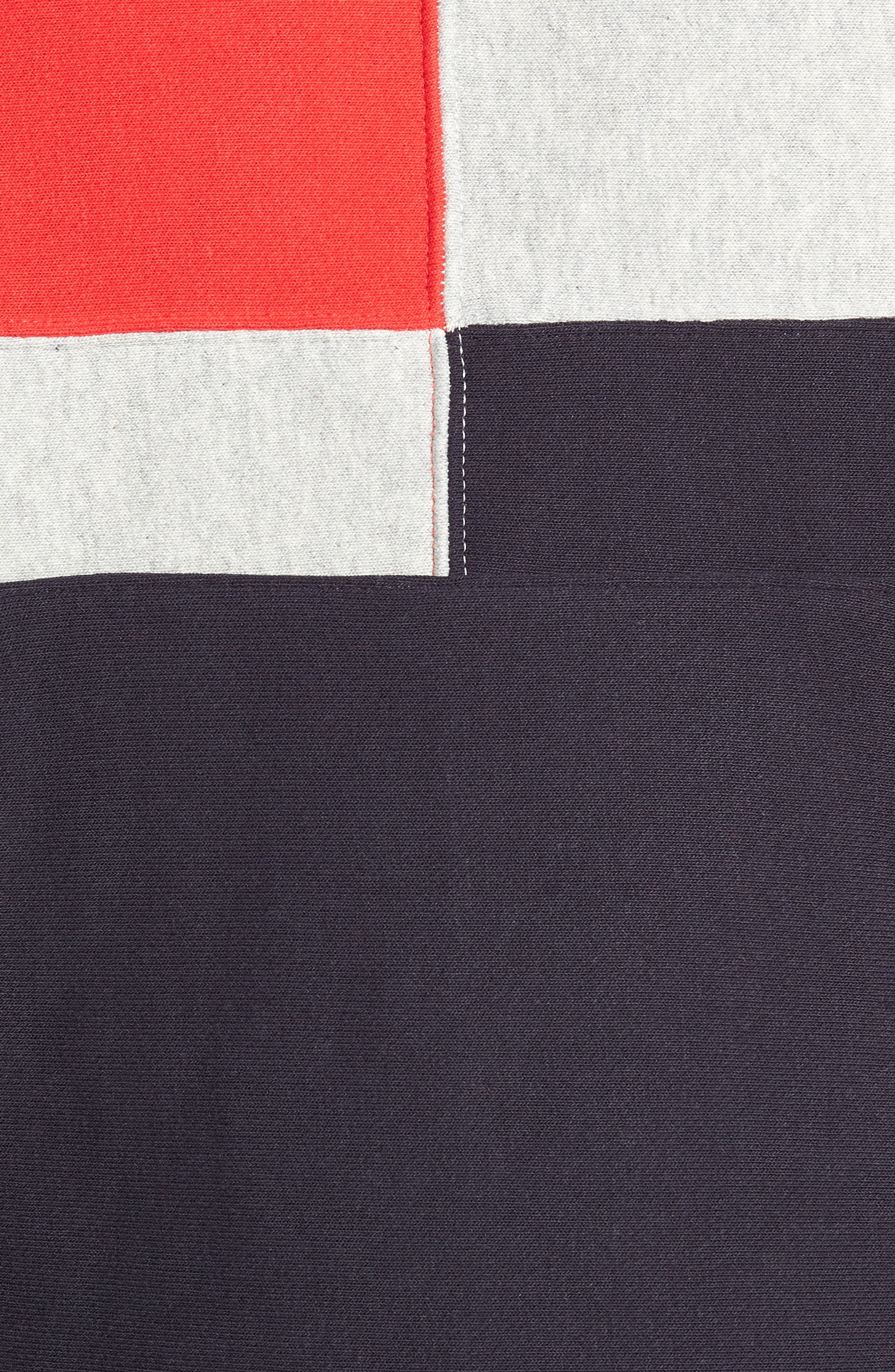 Colorblock Hoodie,                             Alternate thumbnail 5, color,                             NAVY/ OXFORD GREY/ SCARLET