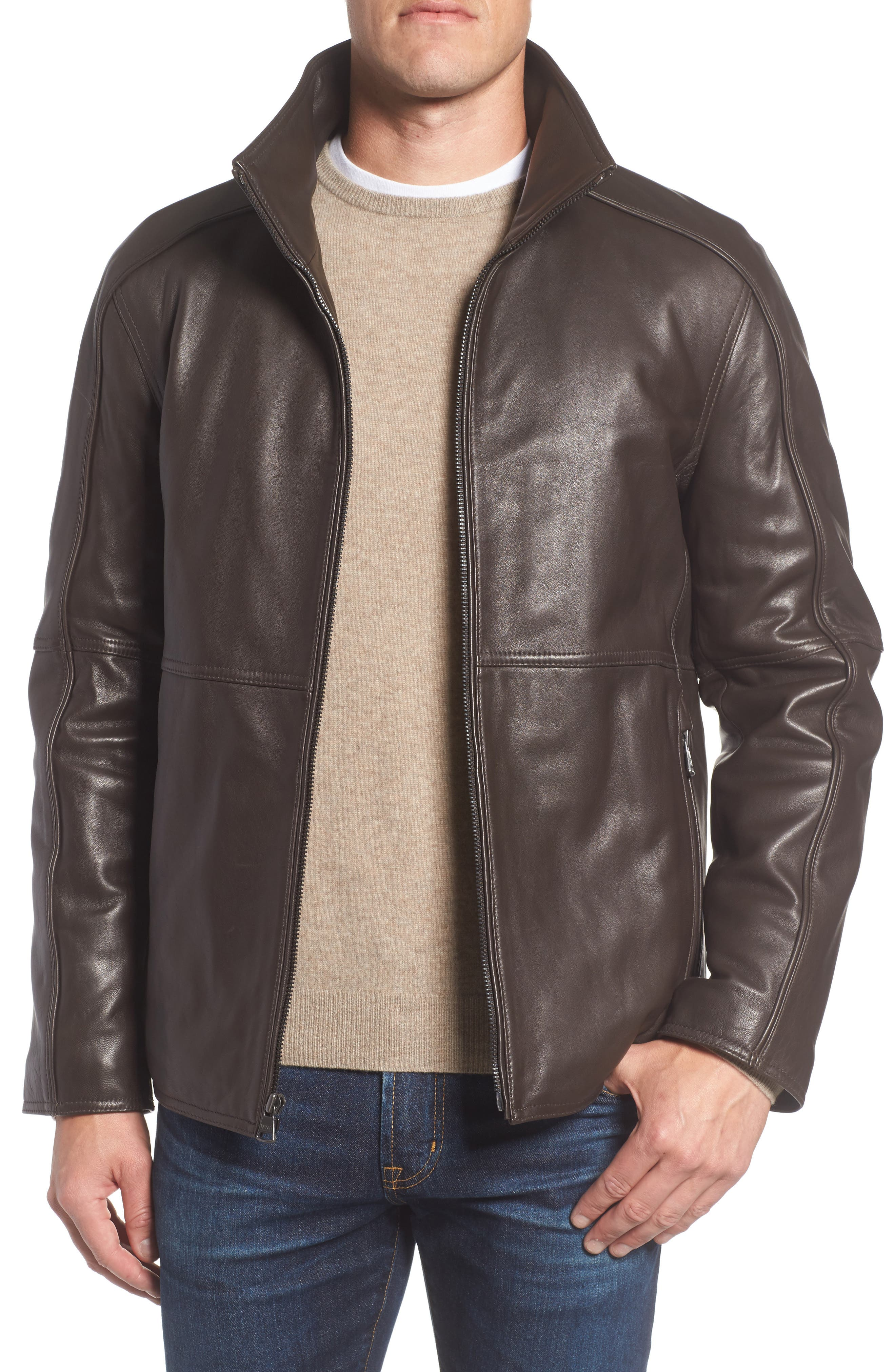 Leather Jacket with Quilted Insert,                             Alternate thumbnail 8, color,