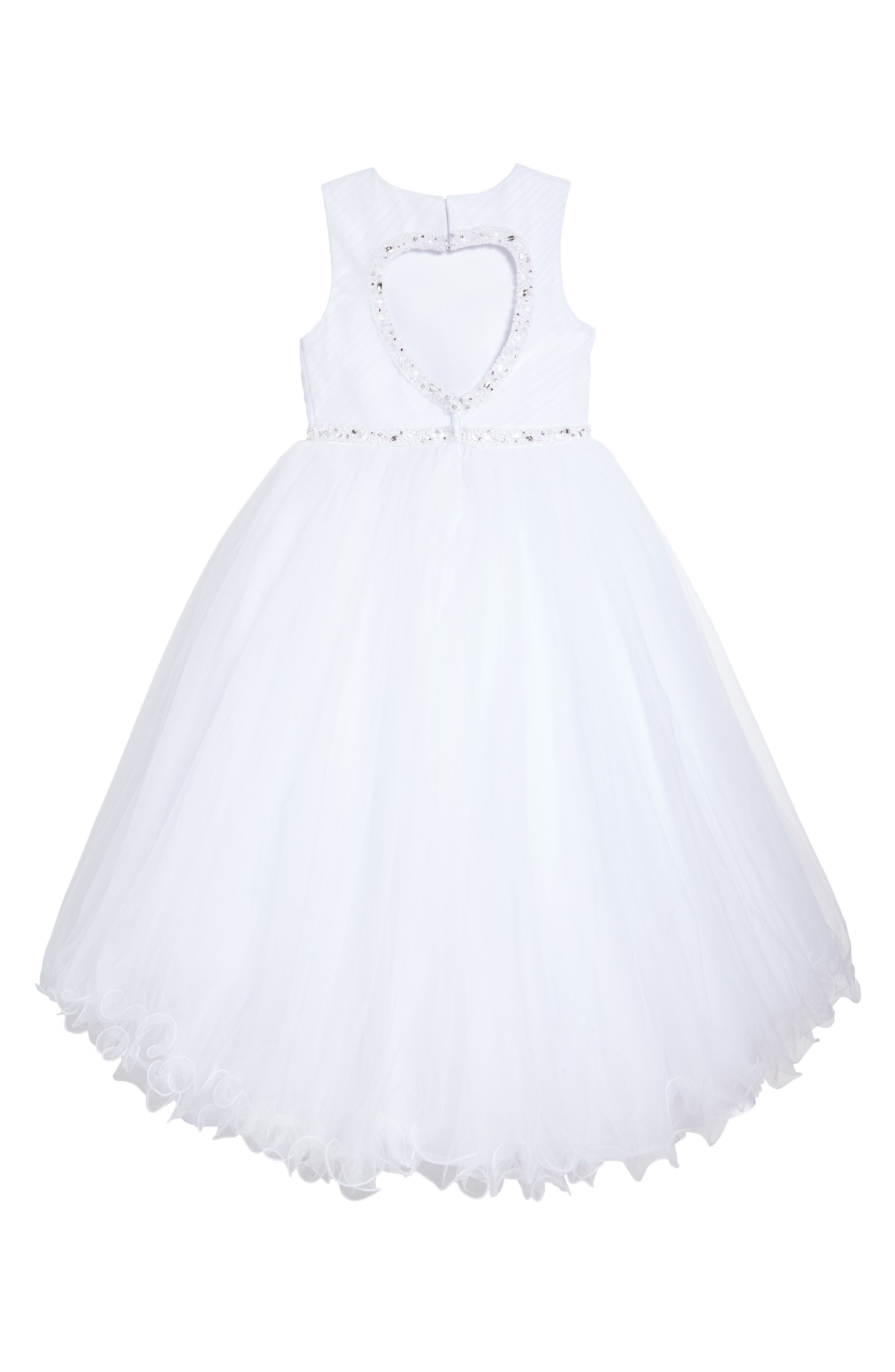 Sleeveless Tulle First Communion Dress,                             Alternate thumbnail 2, color,                             100