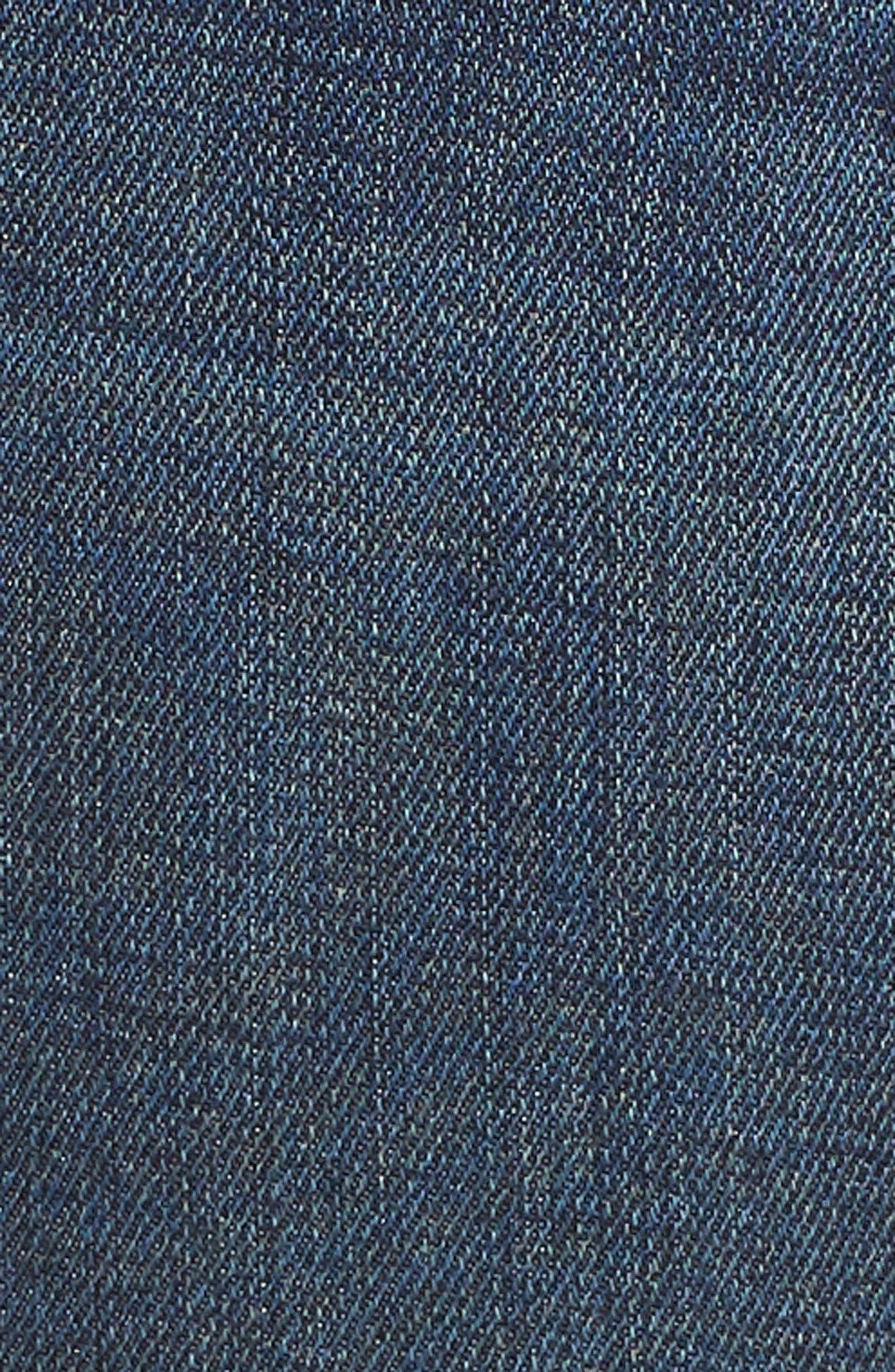 Indigo Curve Hem Skinny Jeans,                             Alternate thumbnail 6, color,                             DARK AUTHENTIC