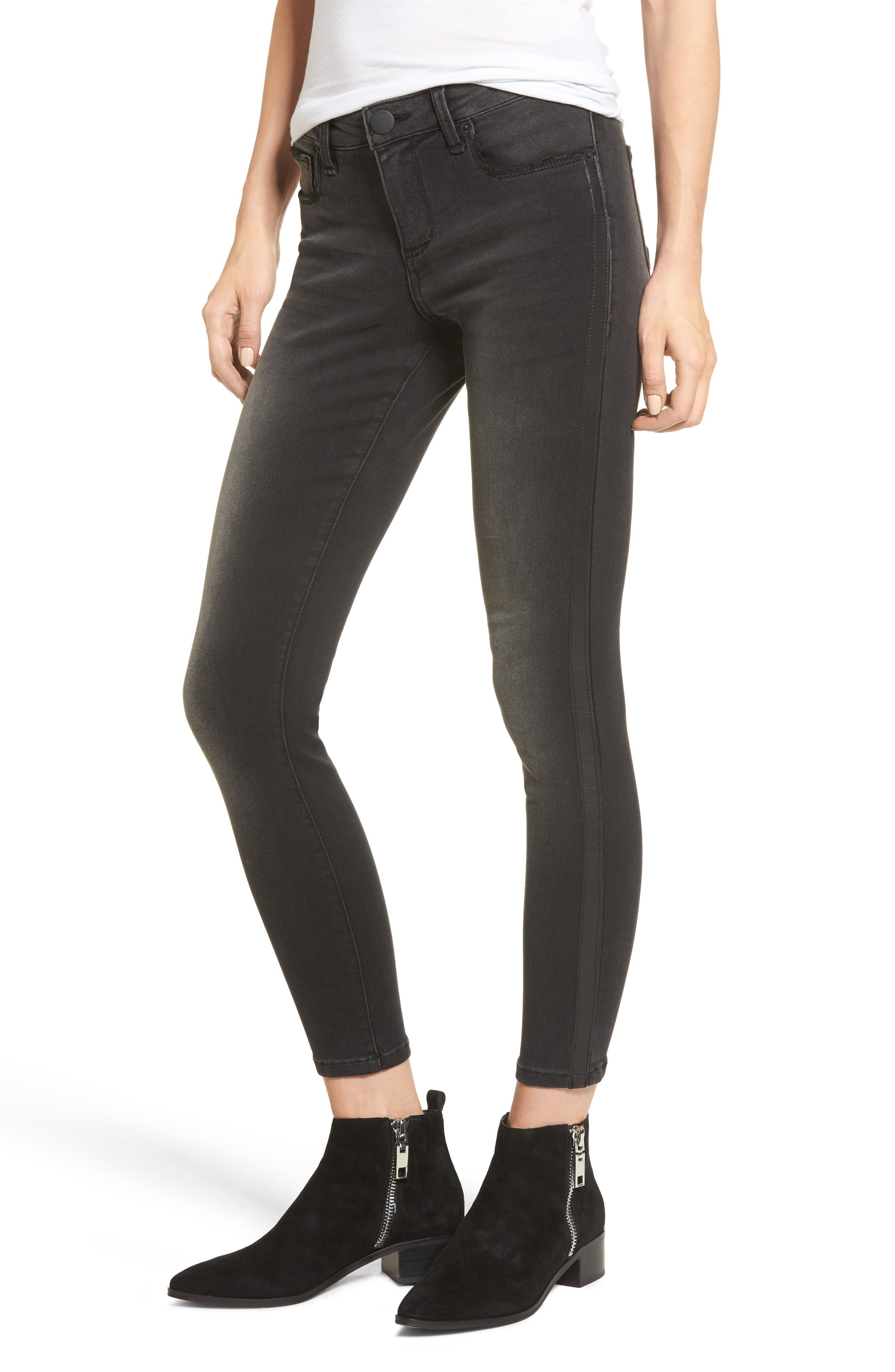 Faux Leather Stripe Skinny Jeans,                         Main,                         color, 001