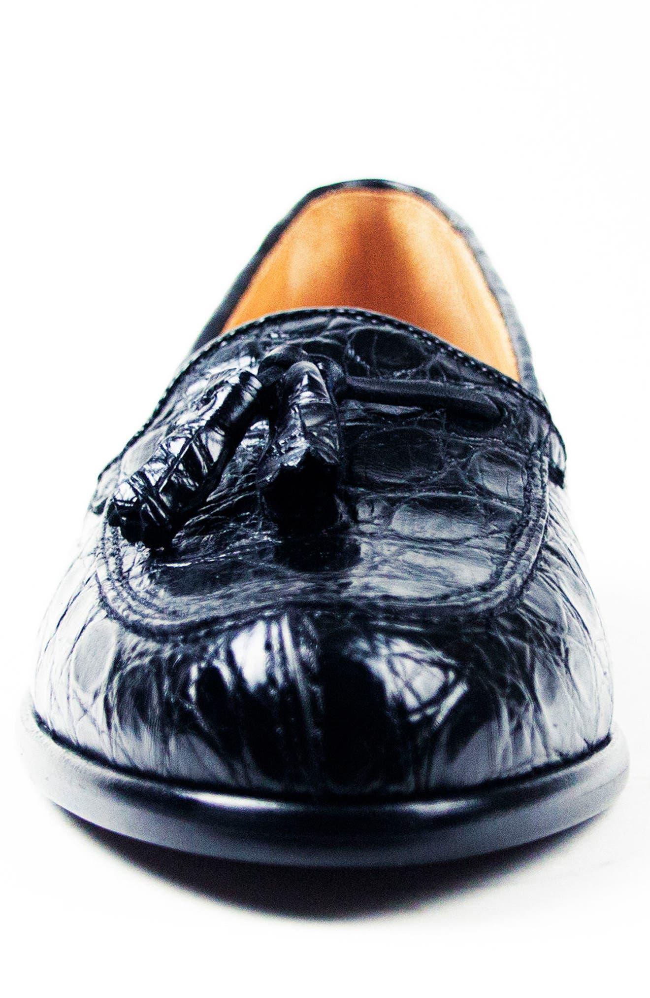 Franco Tassel Exotic Leather Loafer,                             Alternate thumbnail 4, color,                             001