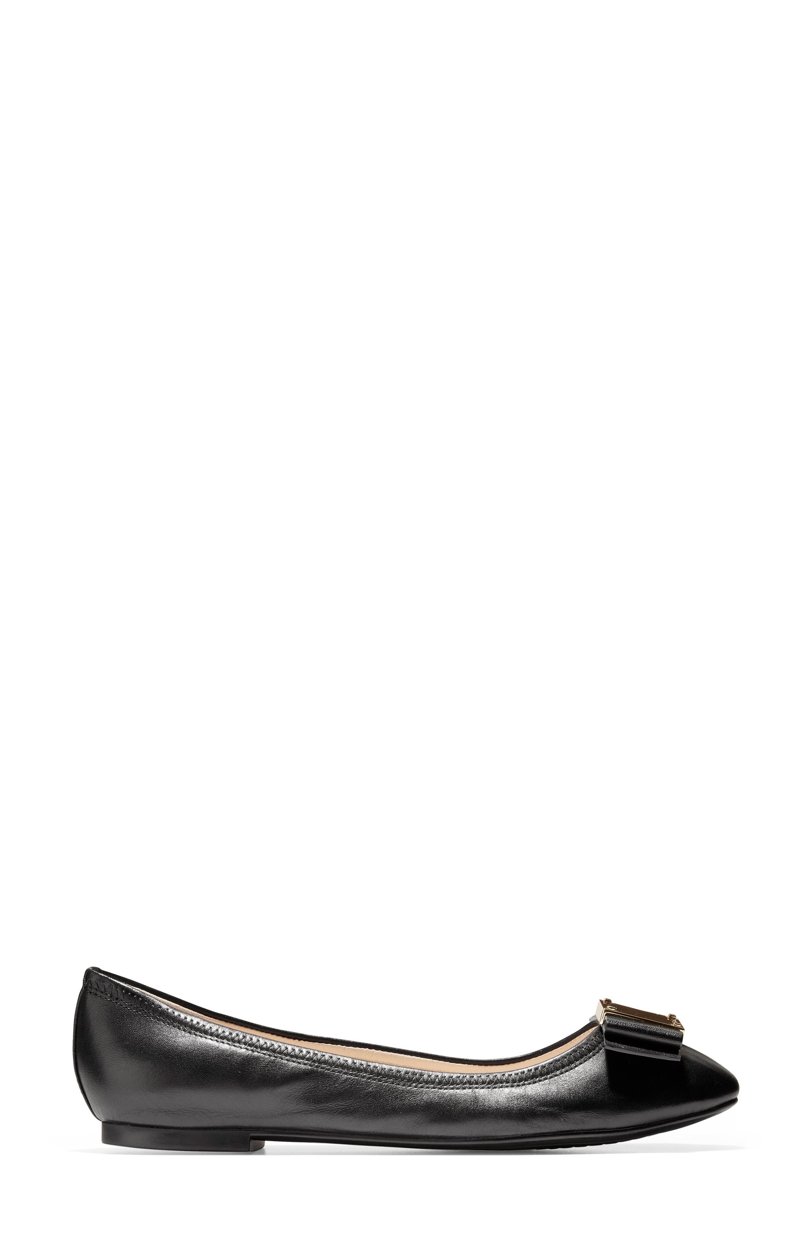Tali Modern Bow Ballet Flat,                             Alternate thumbnail 3, color,                             BLACK LEATHER