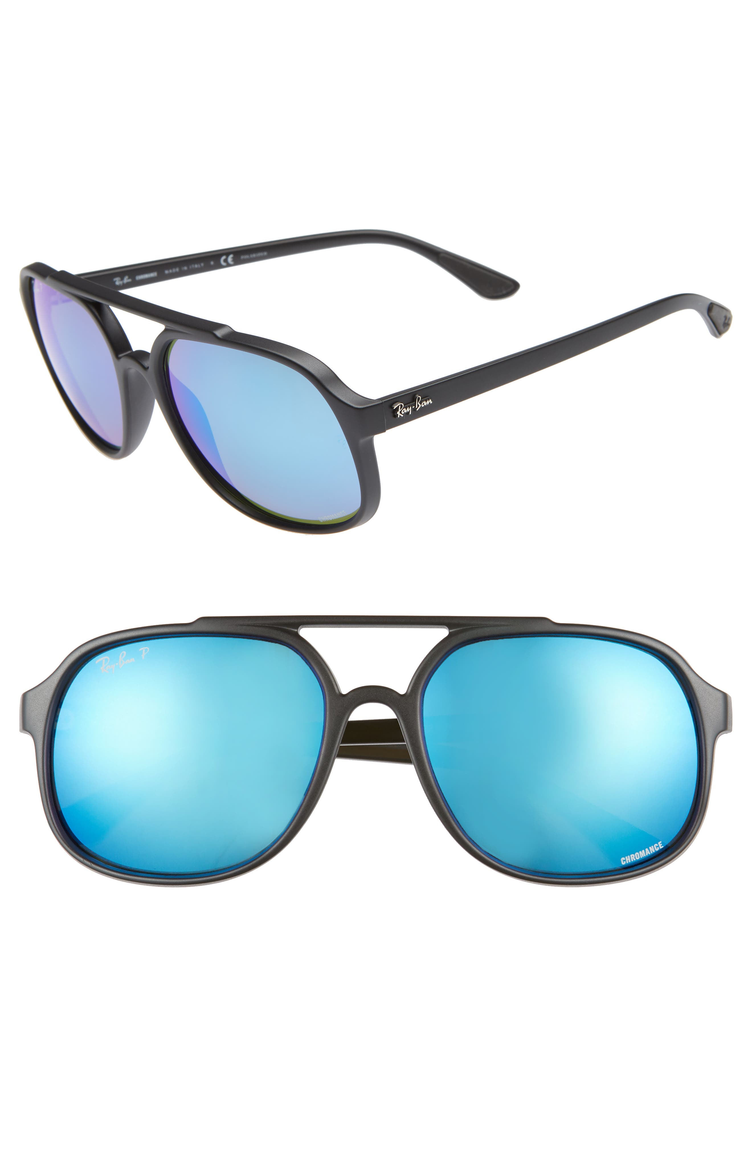 Ray-Ban 57Mm Polarized Navigator Sunglasses - Matte Black