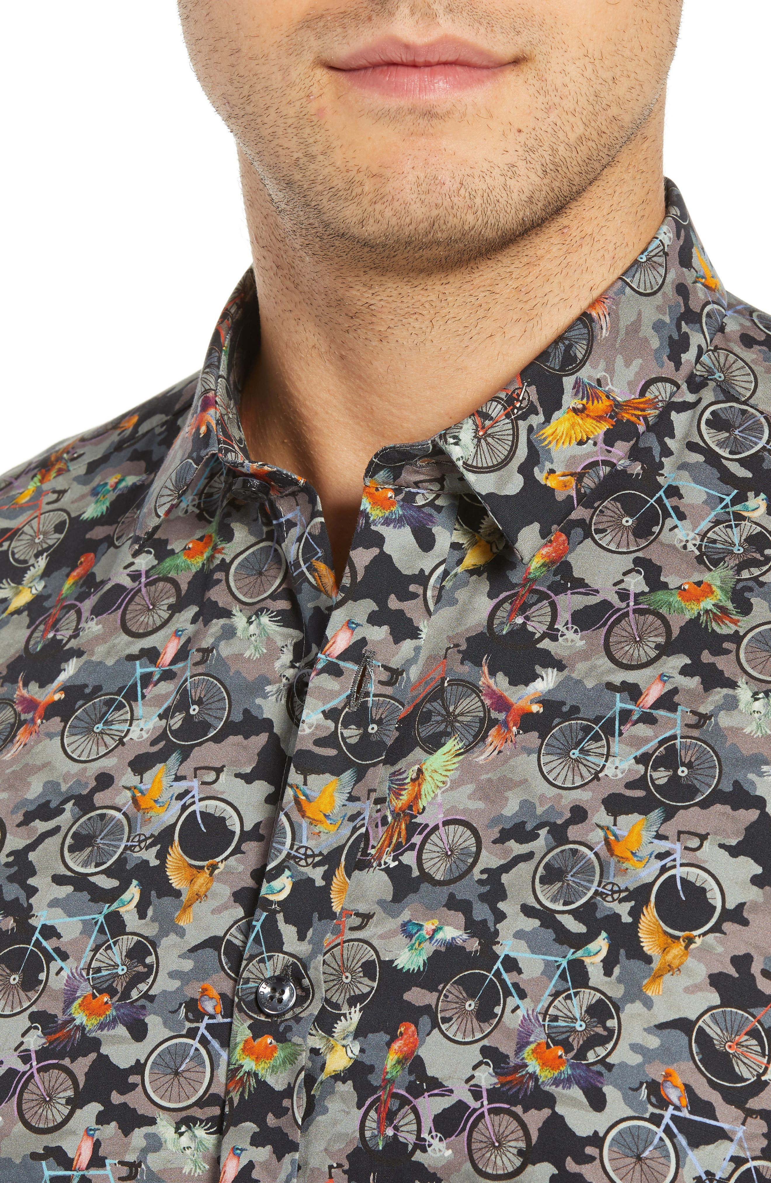Print Long Sleeve Trim Fit Sport Shirt,                             Alternate thumbnail 2, color,                             300