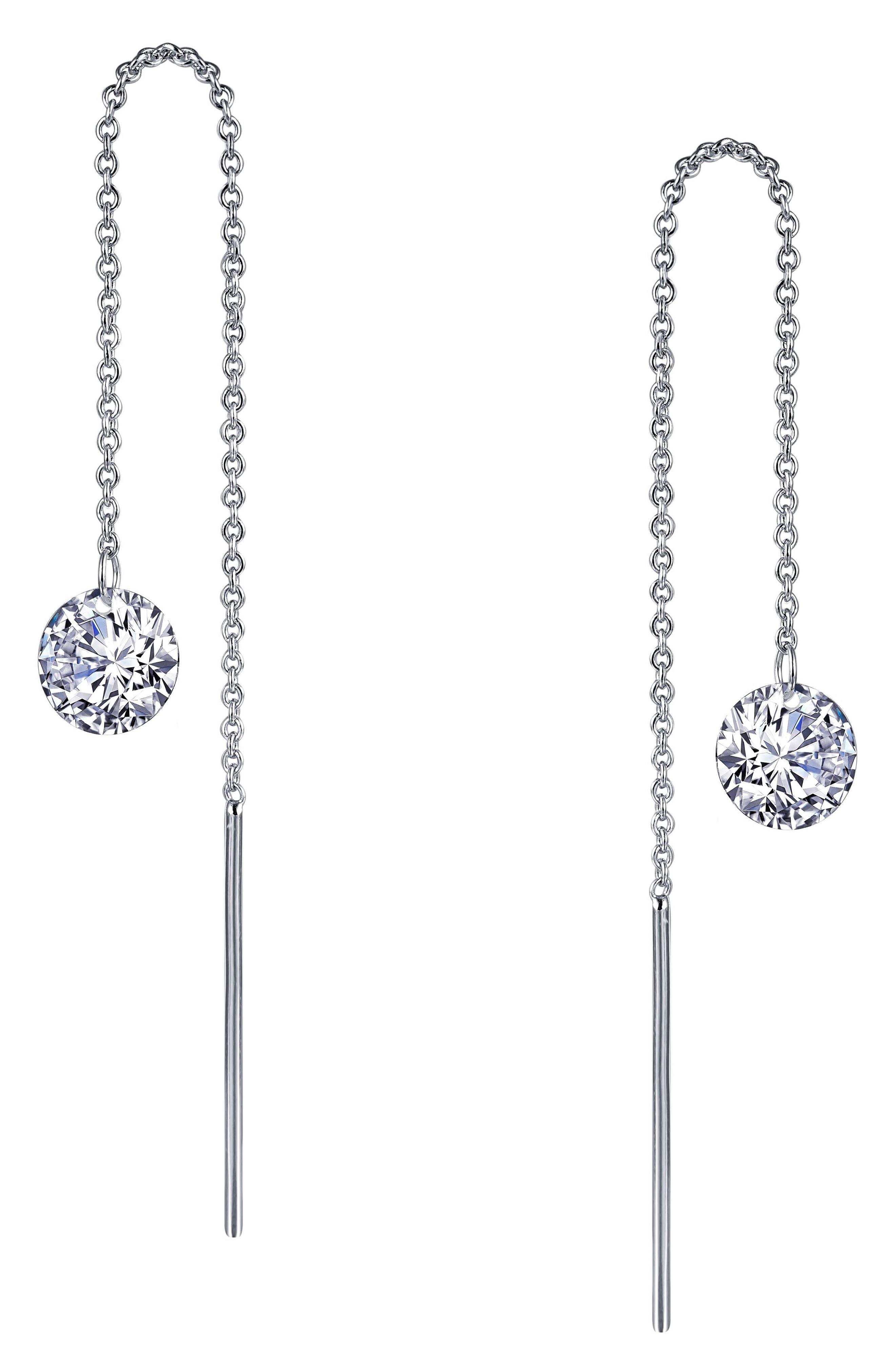 Simulated Diamond Threader Earrings,                         Main,                         color, SILVER