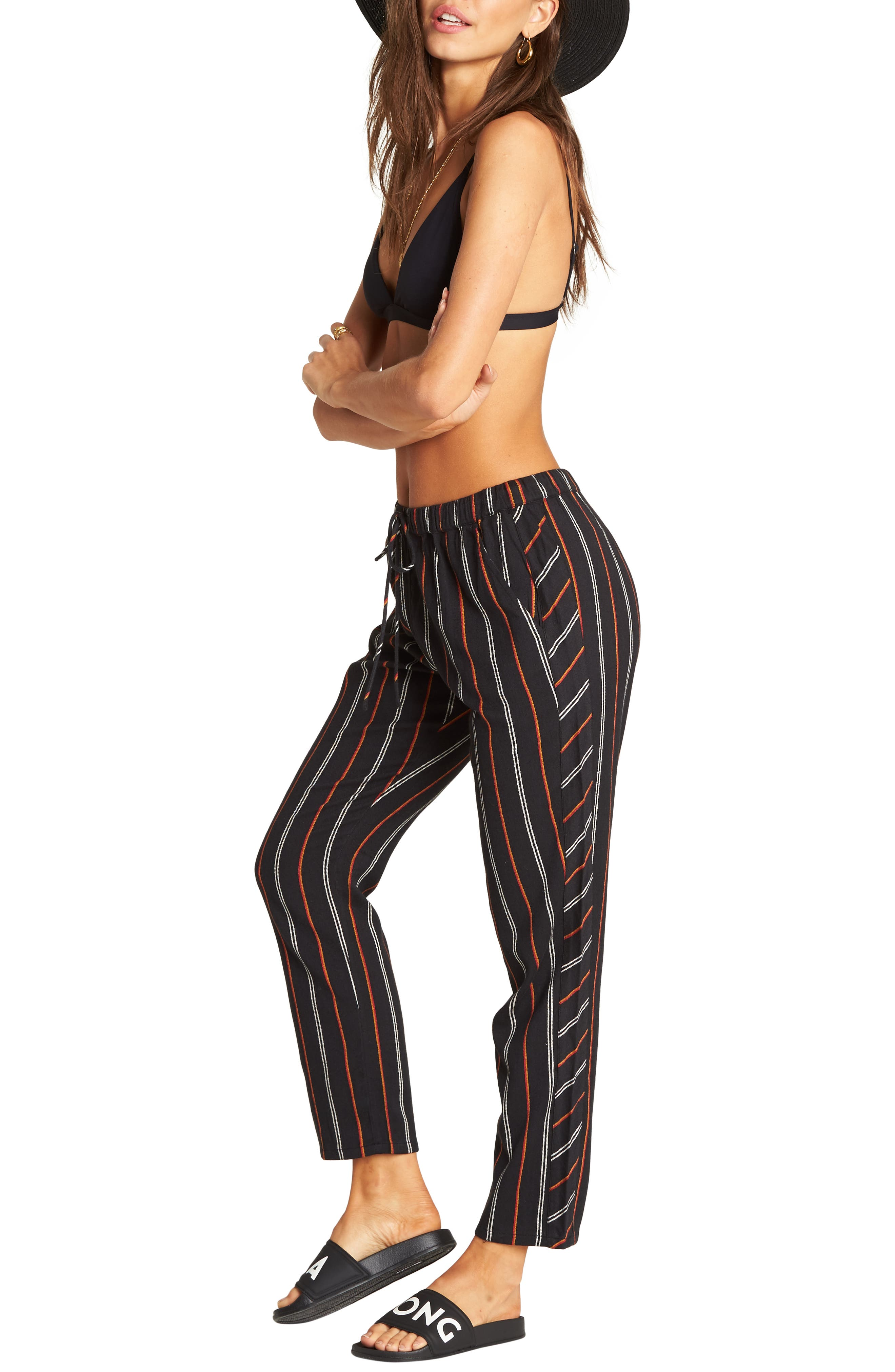 So Pro Pinstripe Pants, Main, color, BLACK