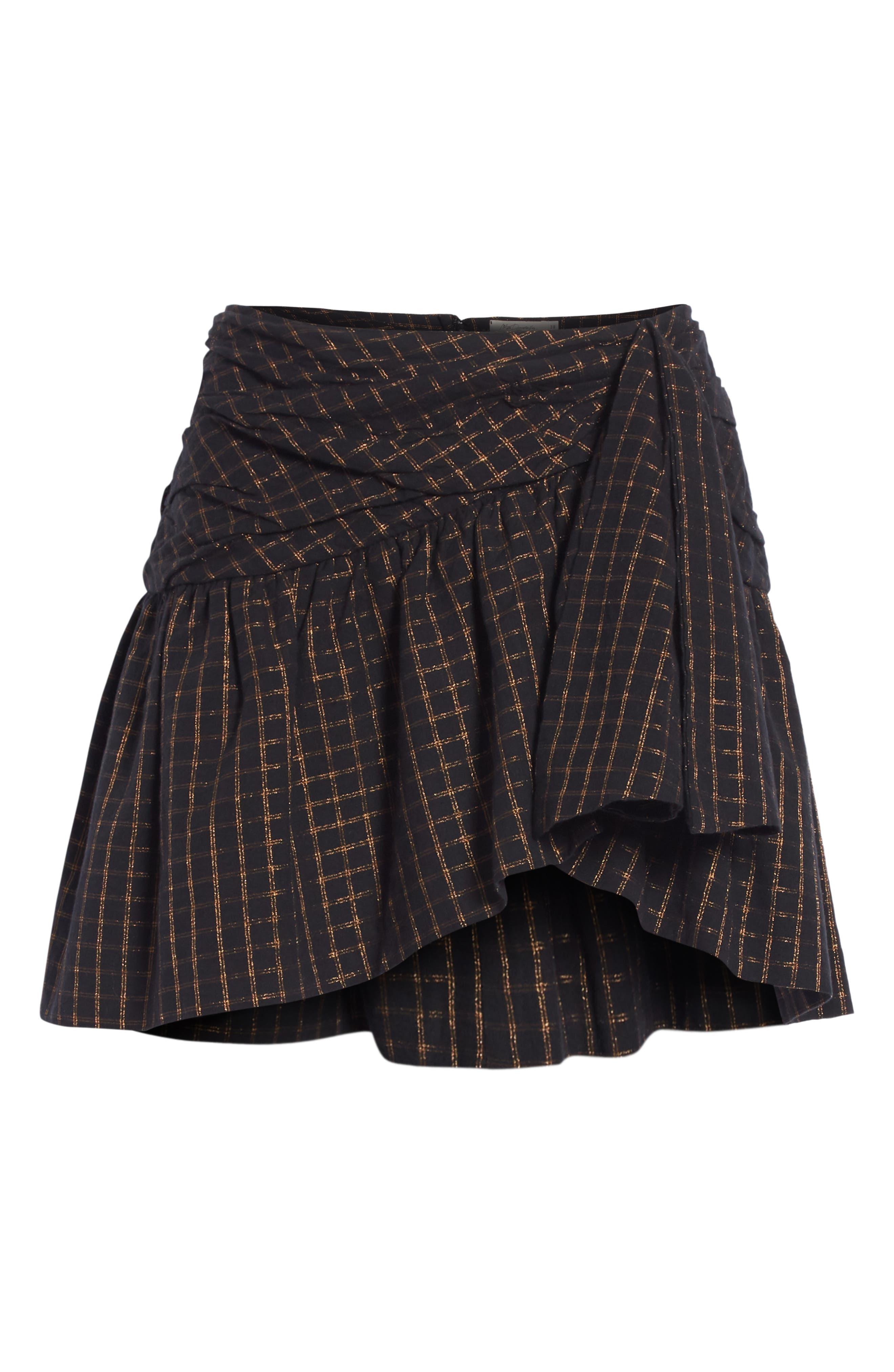 Sylvia Faux Wrap Mini Skirt,                             Alternate thumbnail 6, color,                             BLACK
