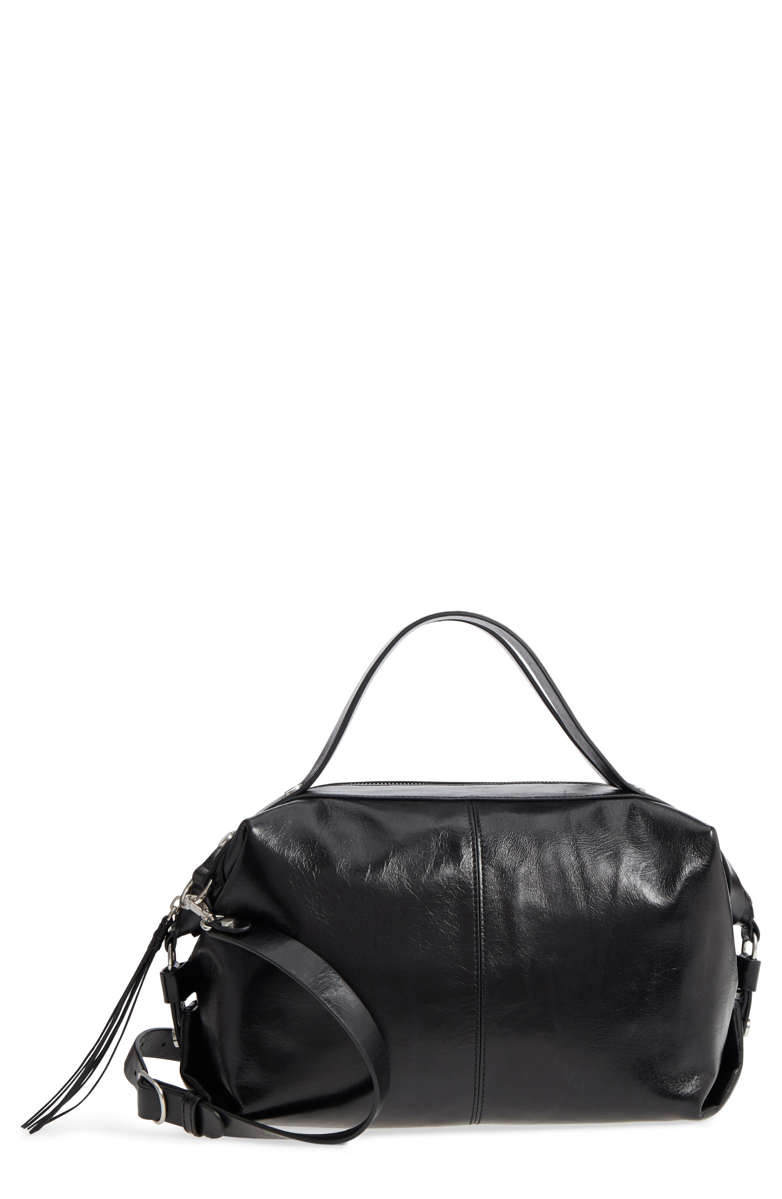 Perry Glazed Leather Convertible Satchel,                         Main,                         color, BLACK