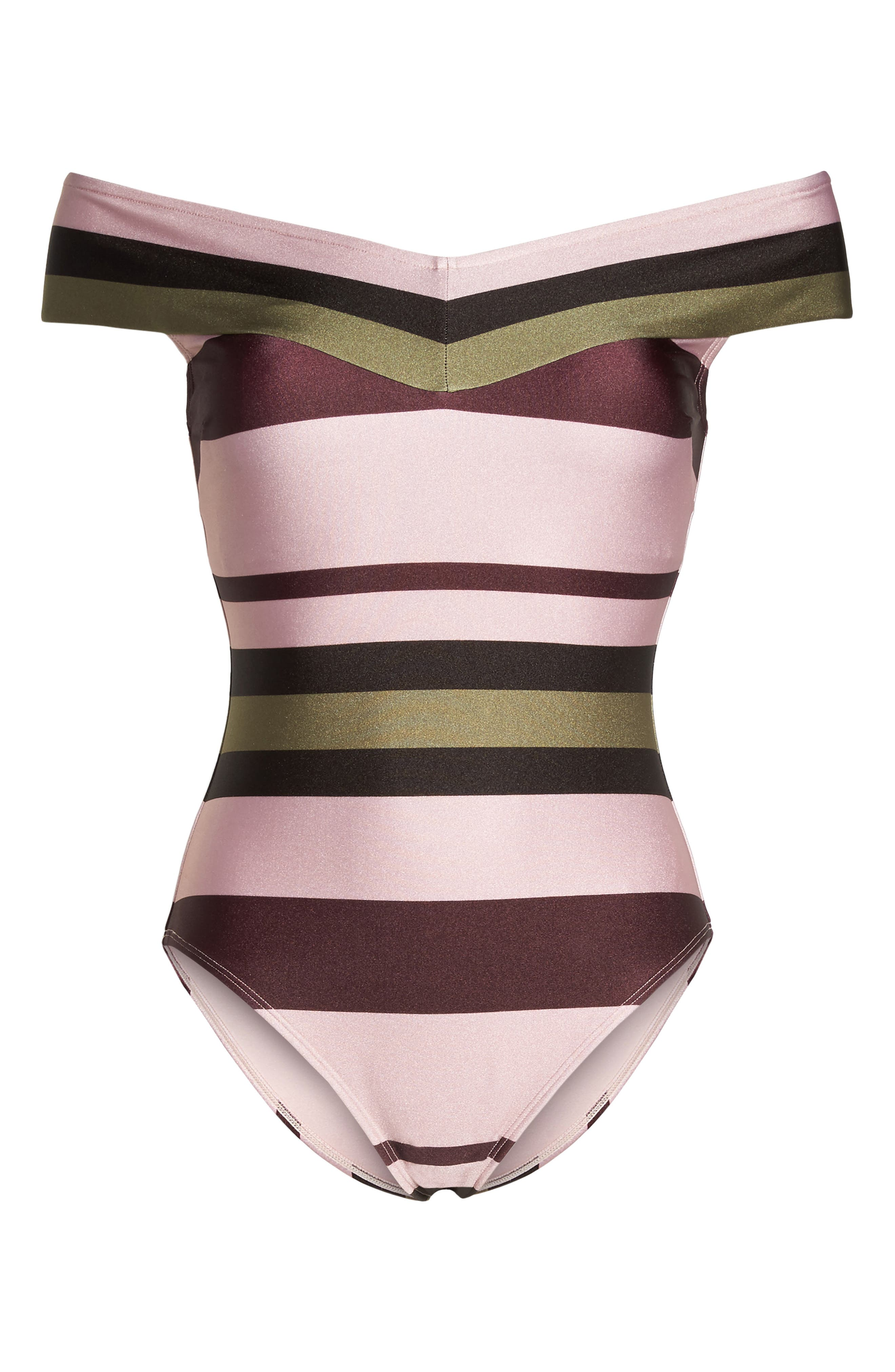 Imperial Stripe Bardot One-Piece Swimsuit,                             Alternate thumbnail 6, color,