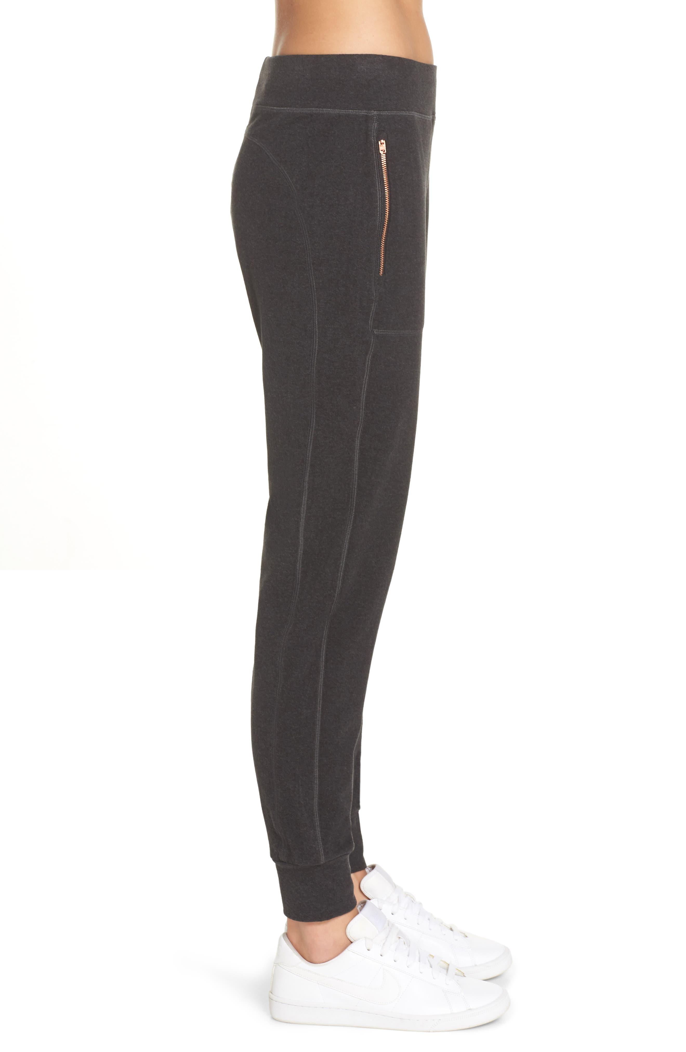 Luxe Liberty Jogger Pants,                             Alternate thumbnail 3, color,                             BLACK MARL