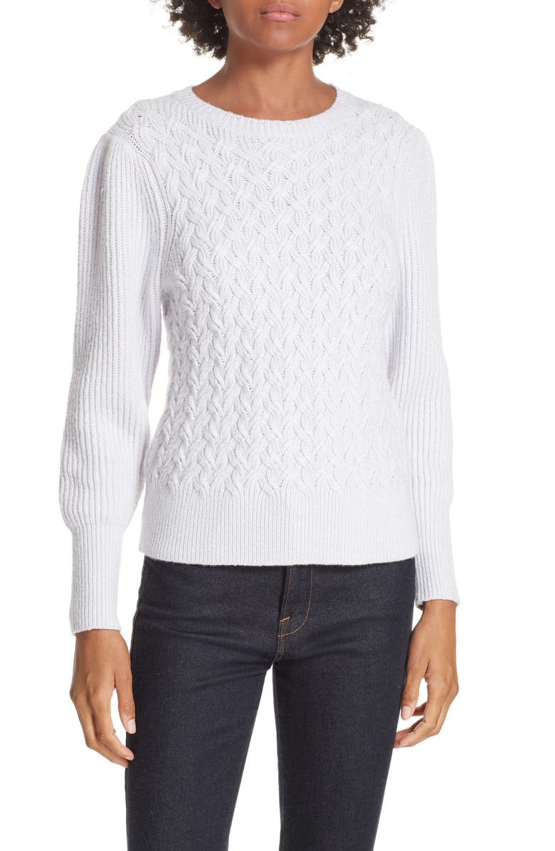 La Vie Rebecca Taylor Clothing WAVY CABLE COTTON WOOL BLEND SWEATER