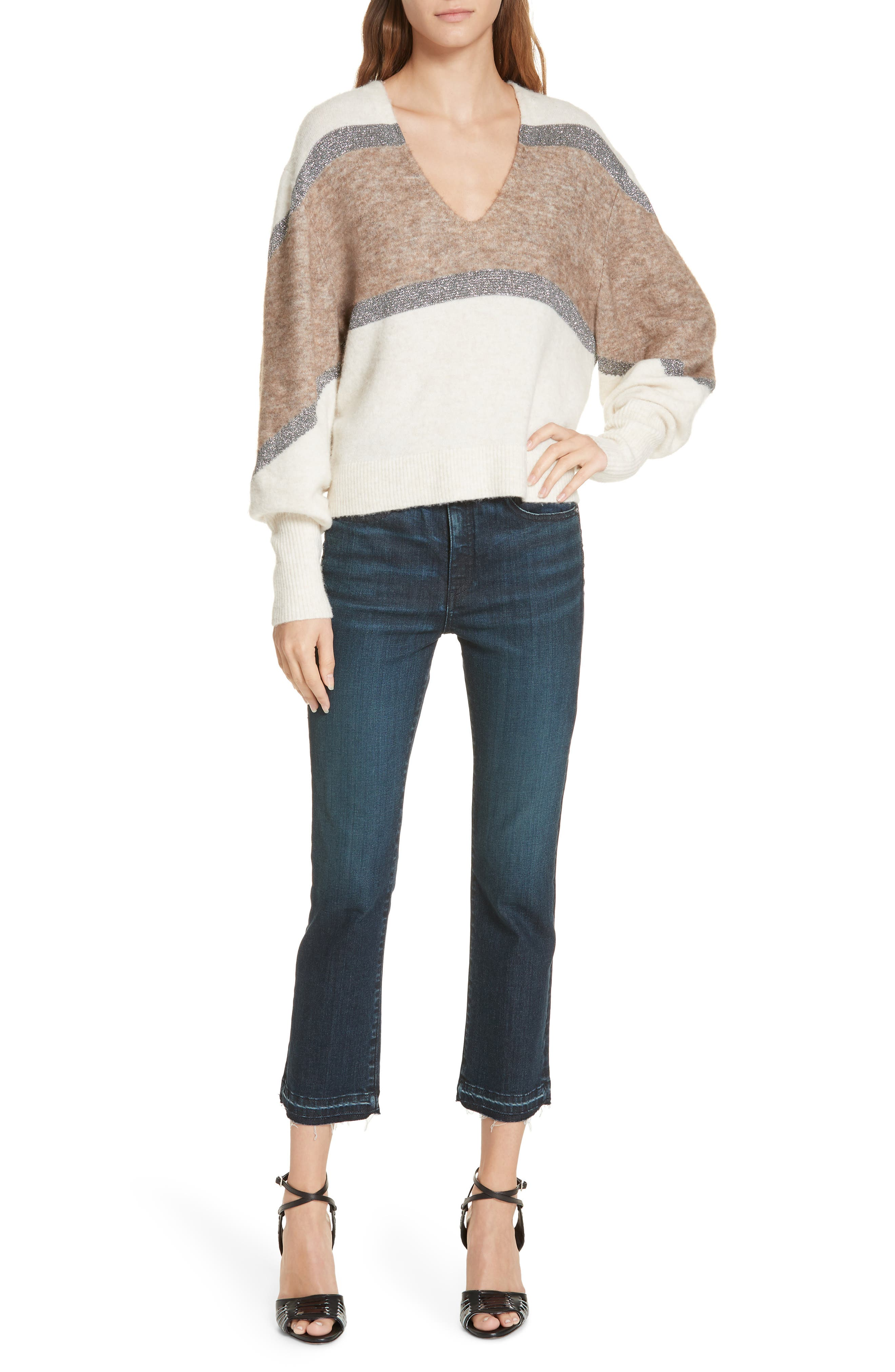 Miley Stripe Sweater,                             Alternate thumbnail 7, color,                             IVORY MULTI