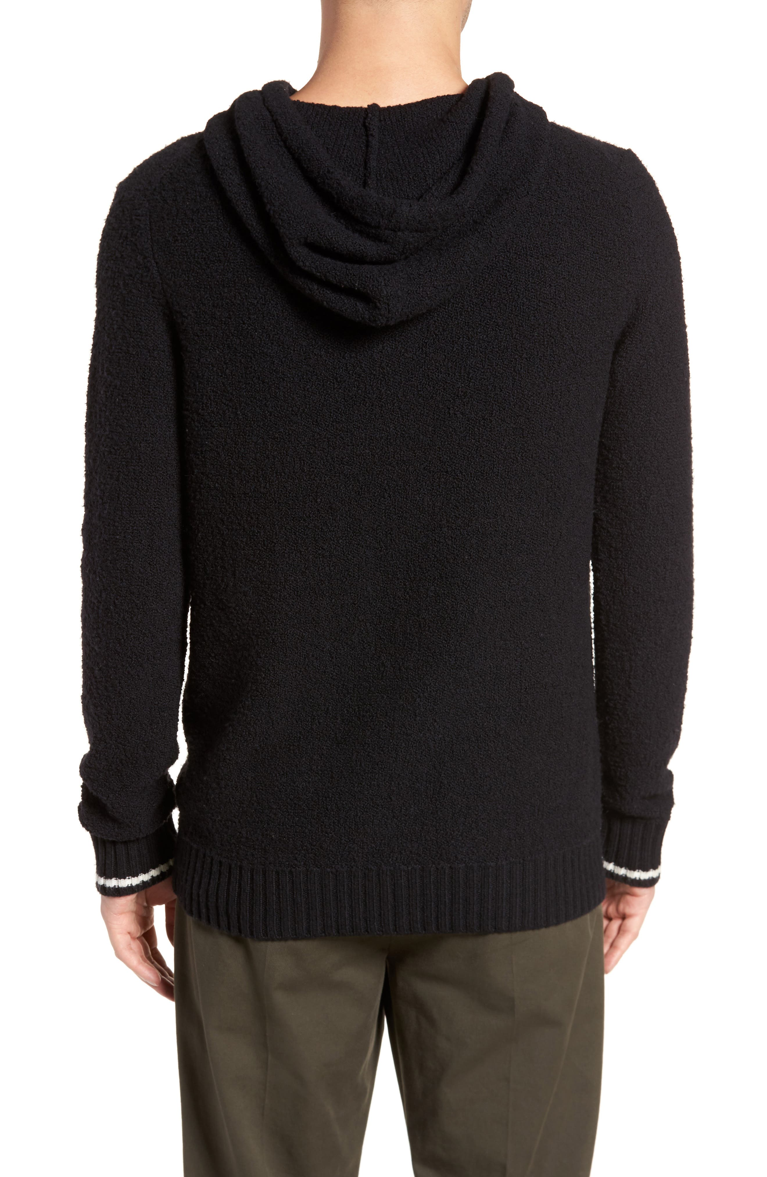 Wool Fleece Pullover Hoodie,                             Alternate thumbnail 2, color,                             BLACK
