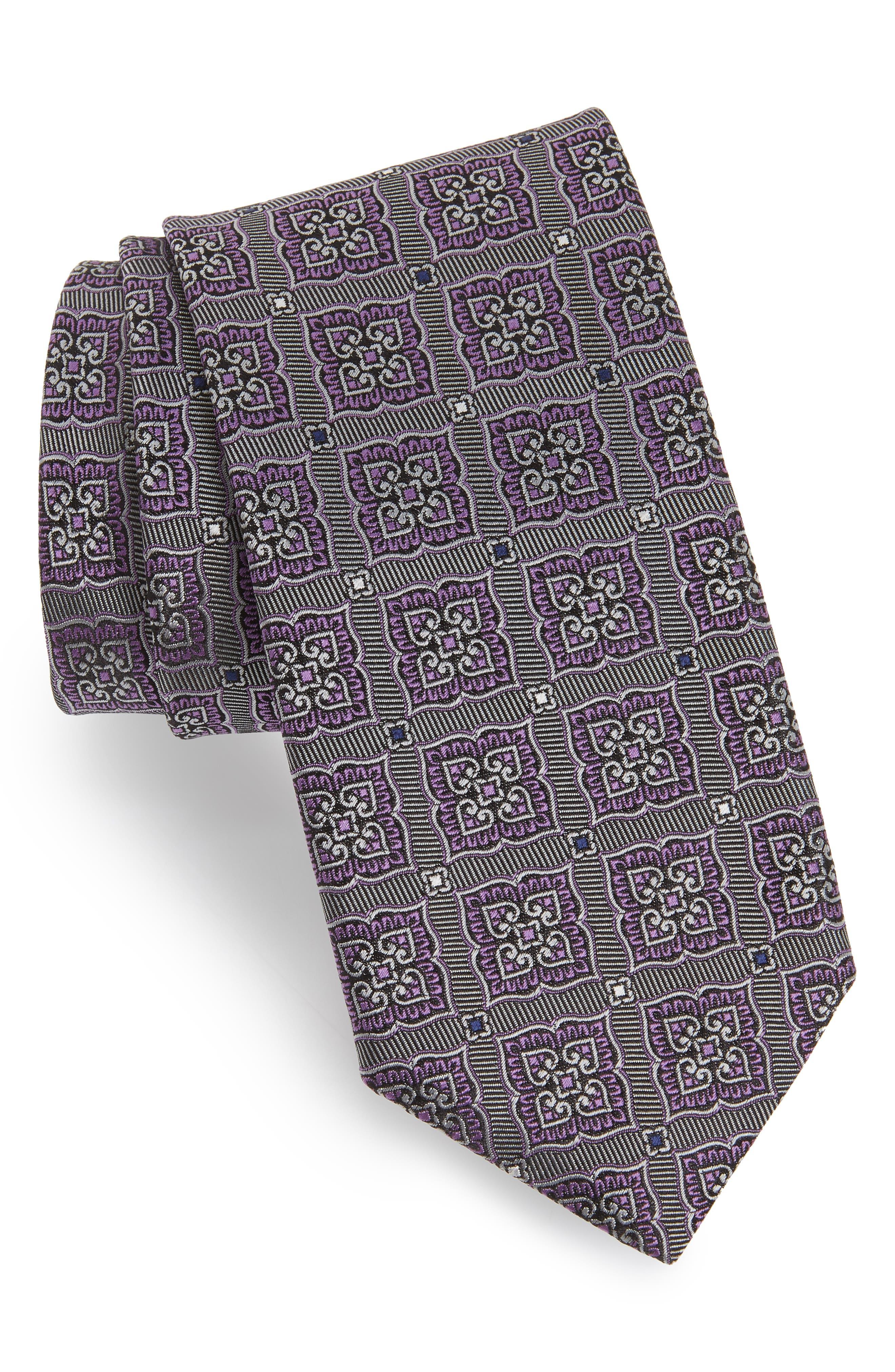 Medallion Silk Tie,                             Main thumbnail 1, color,                             GREY