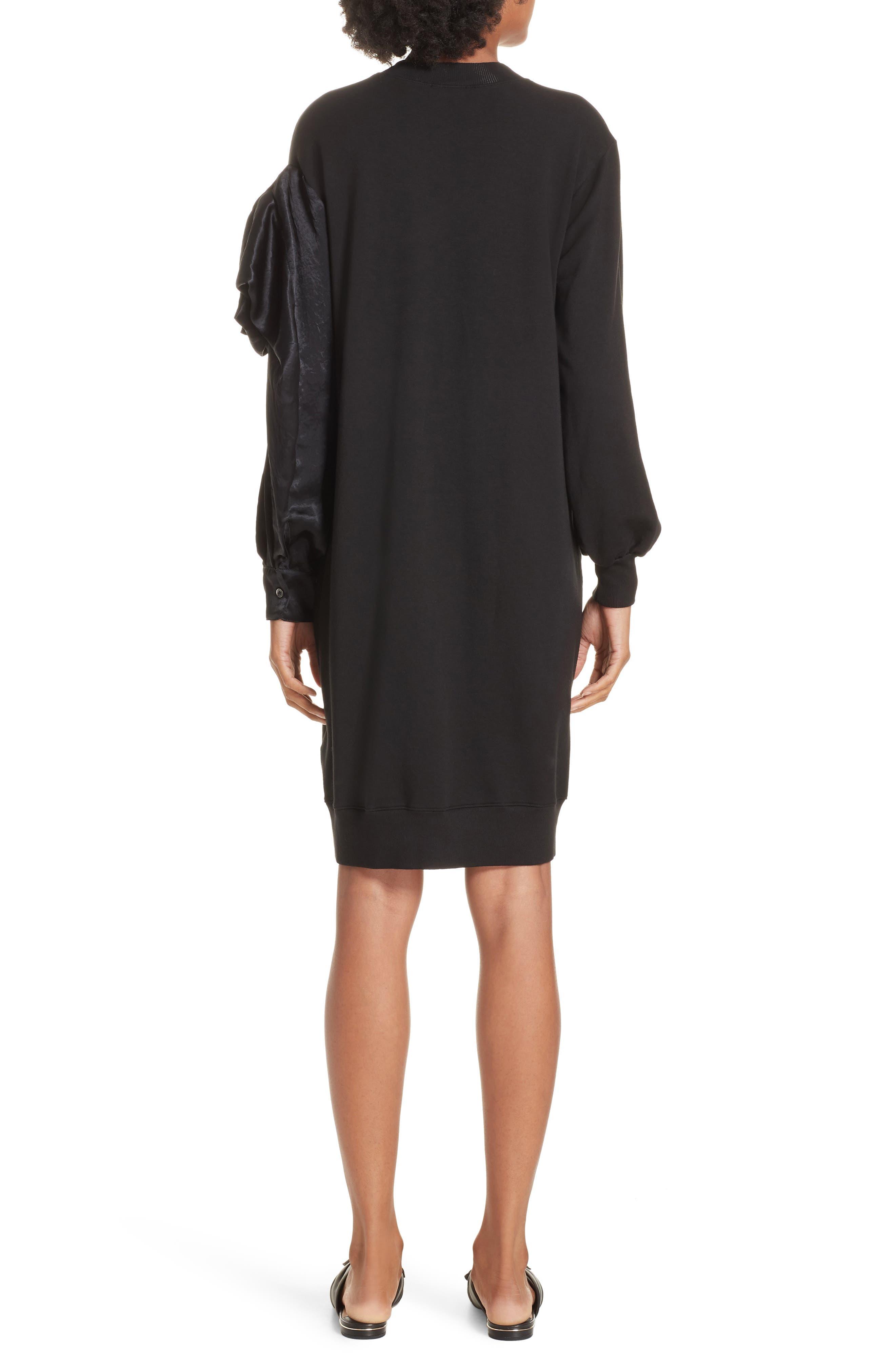 Asymmetric Sweatshirt Dress,                             Alternate thumbnail 2, color,                             BLACK