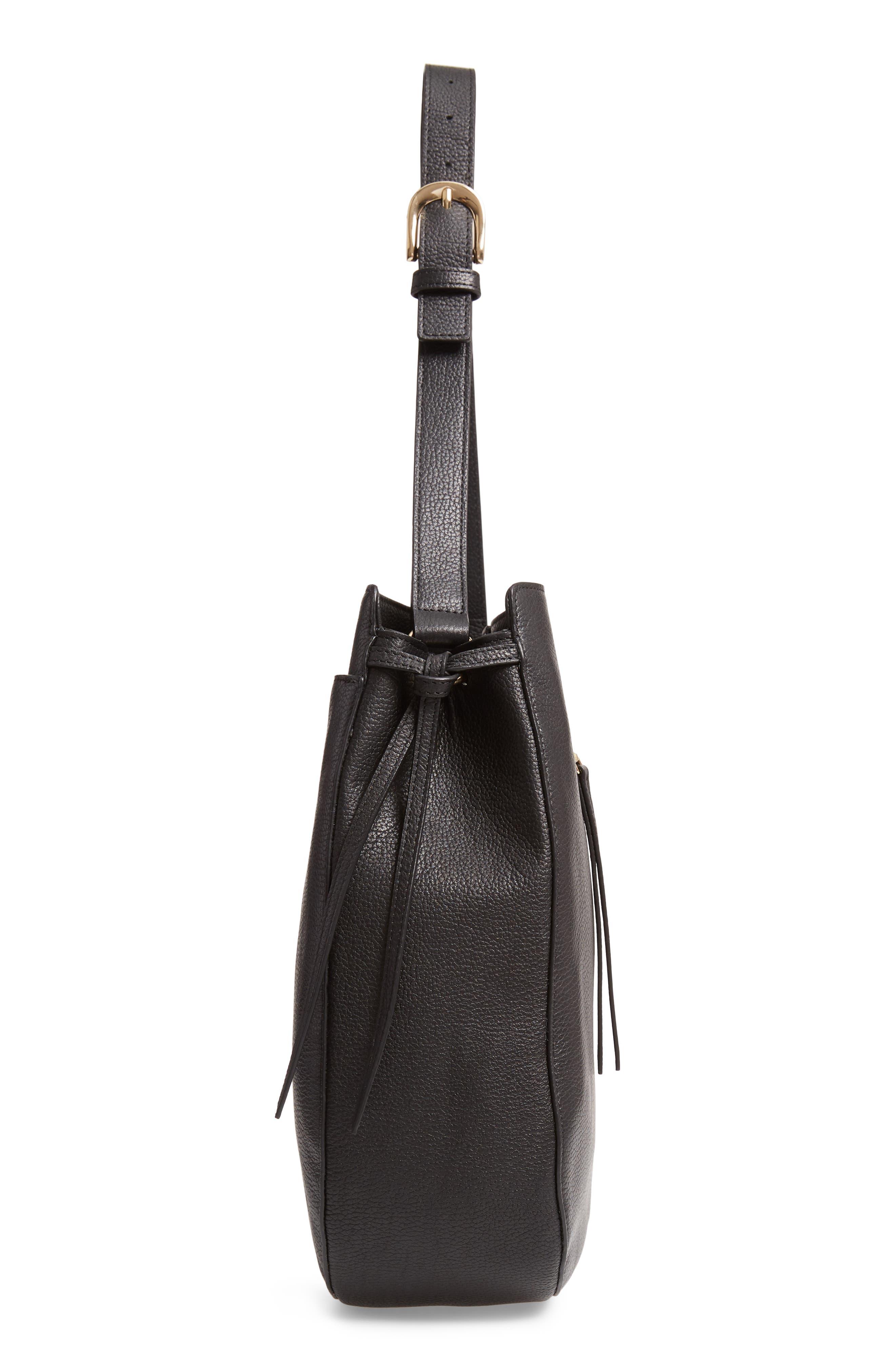 Finley Leather Hobo,                             Alternate thumbnail 5, color,                             BLACK