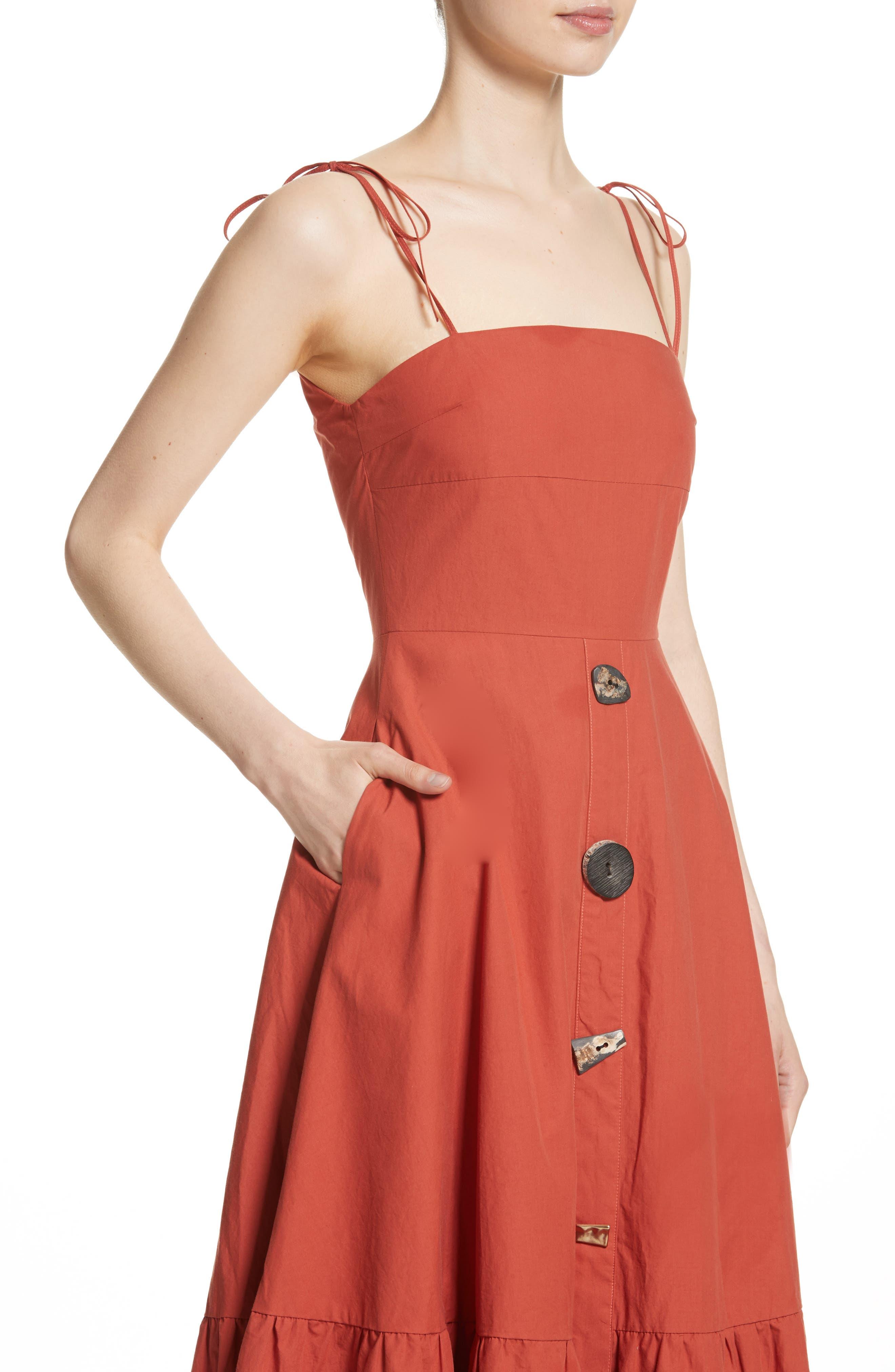 Maria Ruffle Hem Poplin Midi Dress,                             Alternate thumbnail 4, color,