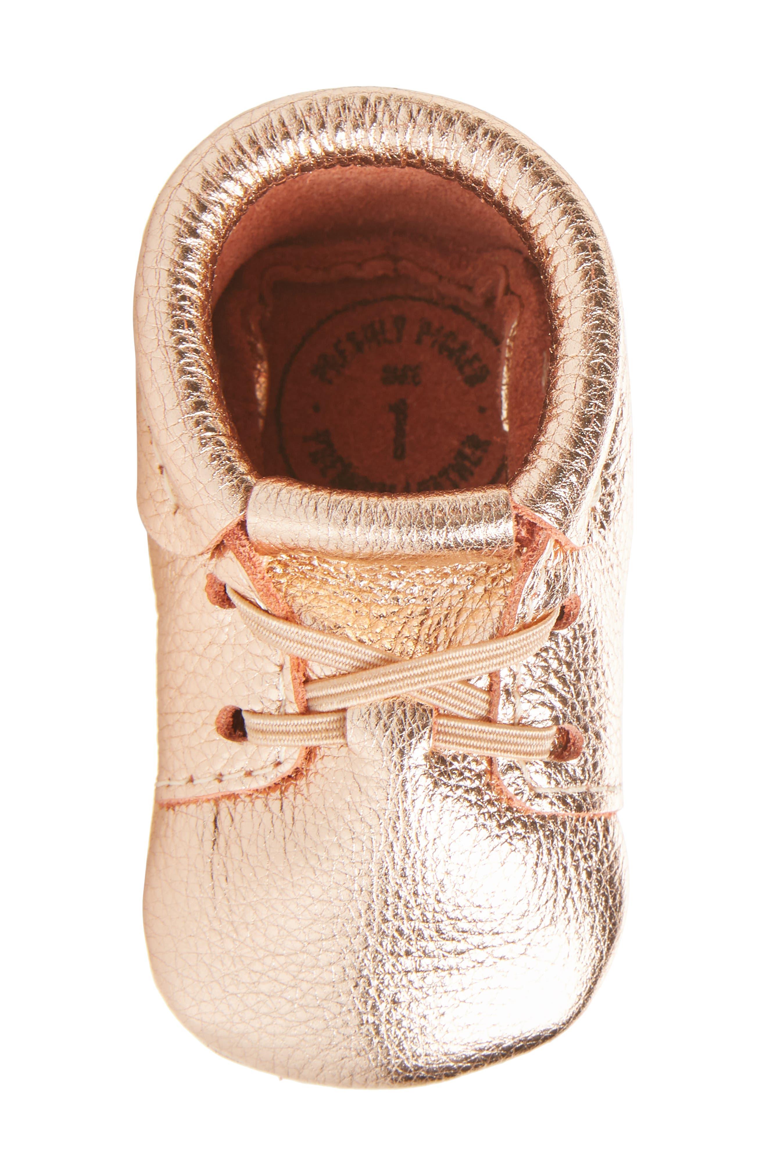 Oxford Crib Shoe,                             Alternate thumbnail 5, color,                             ROSE GOLD LEATHER
