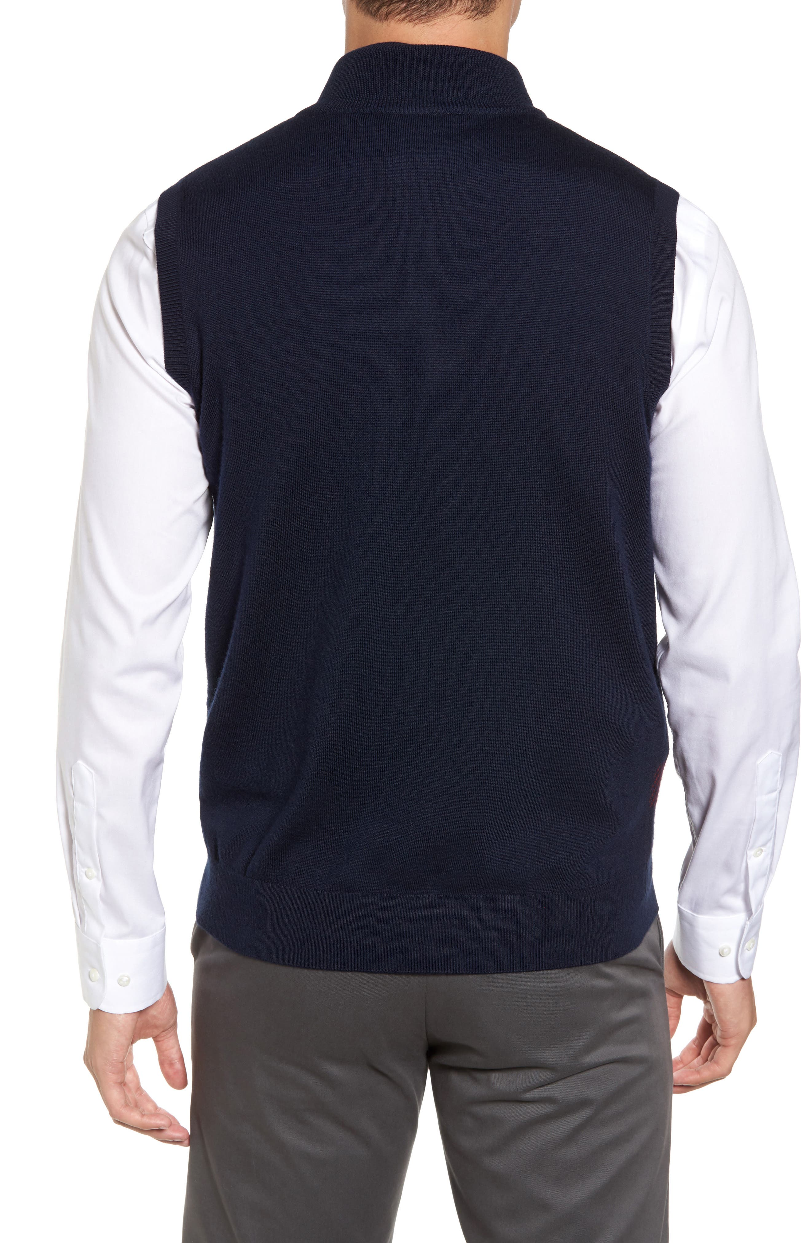 Oversize Plaid Wool Vest,                             Alternate thumbnail 4, color,