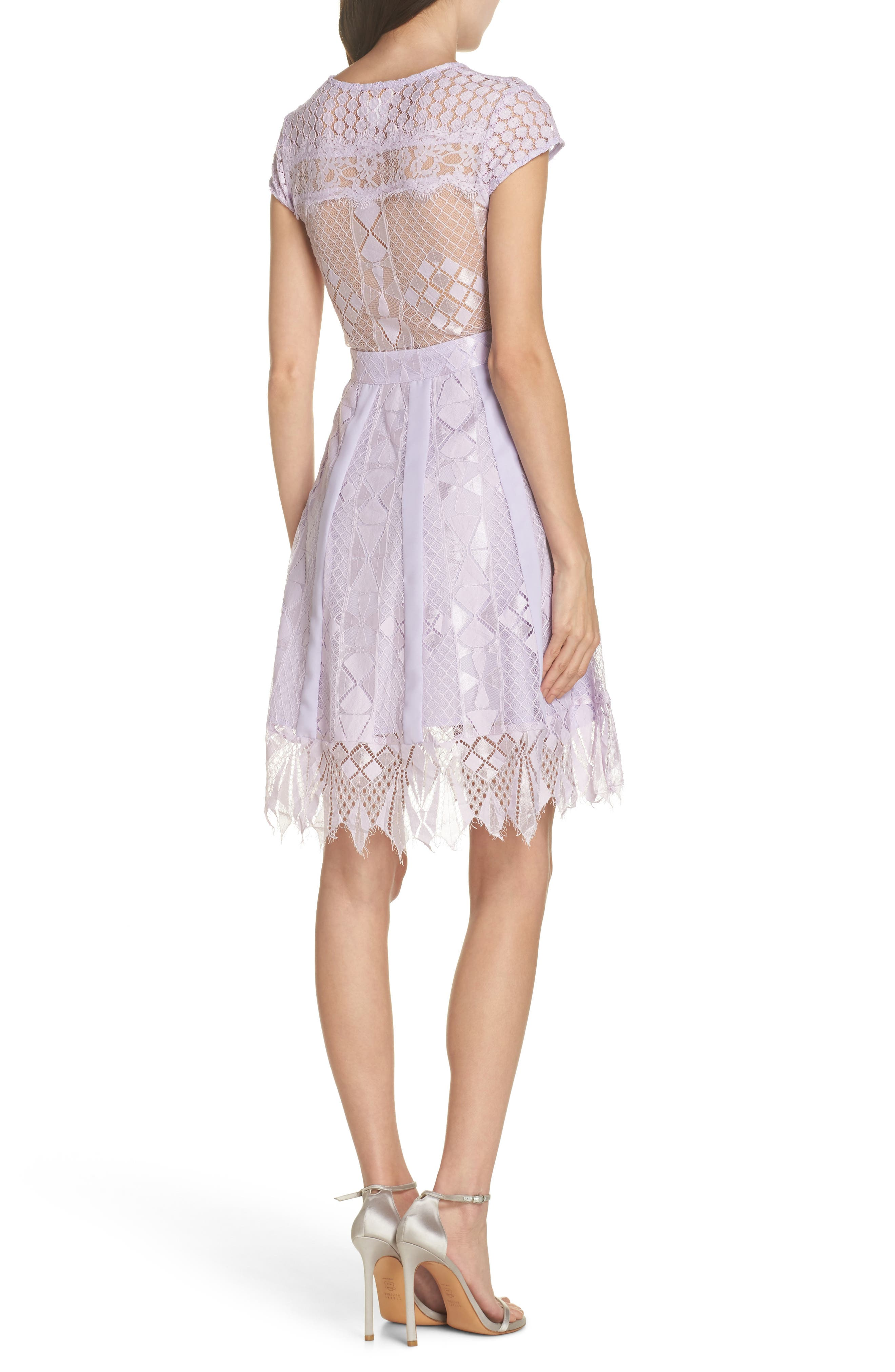 Florence Lace Fit & Flare Dress,                             Alternate thumbnail 2, color,                             LILAC