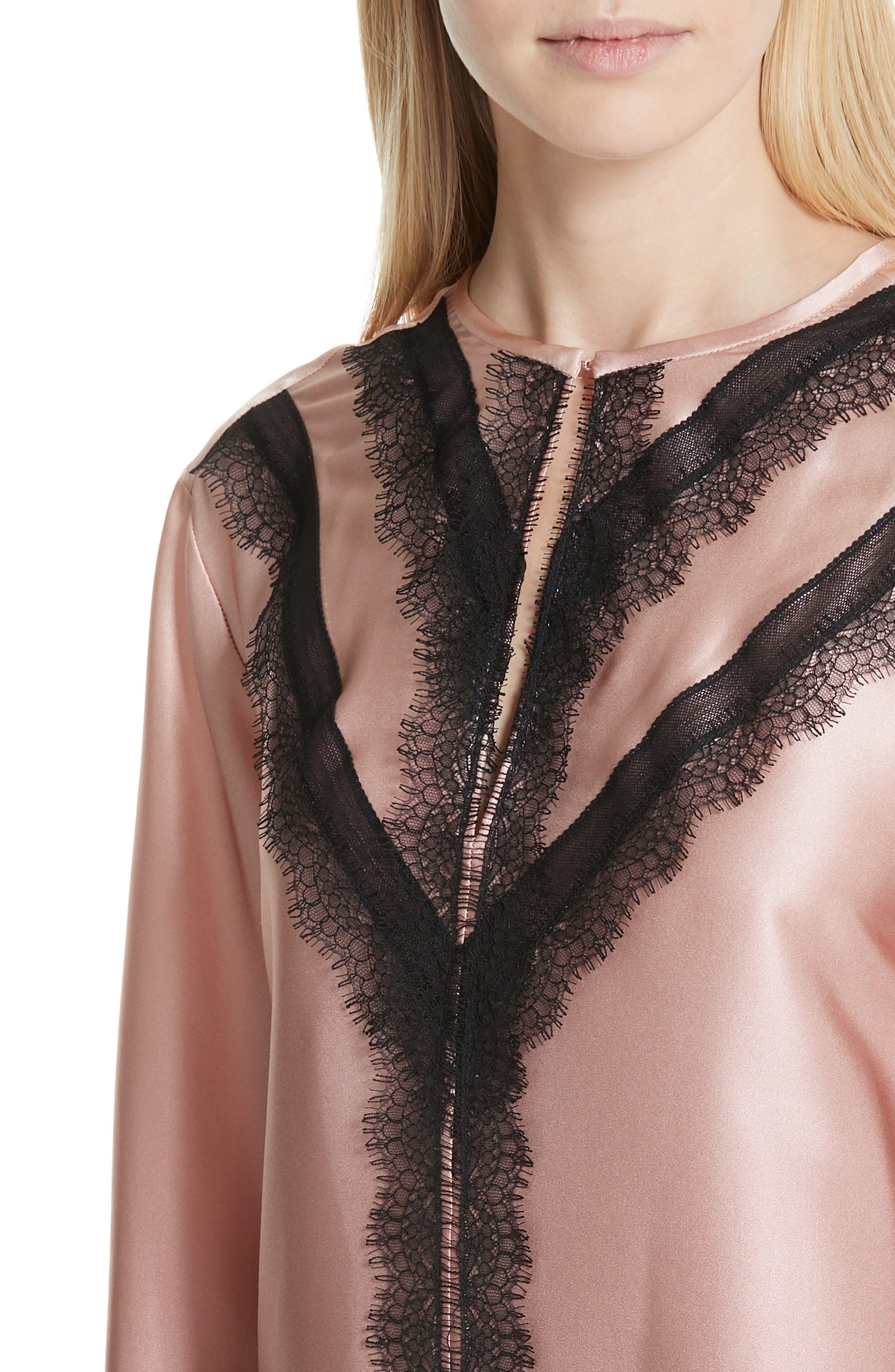 GREY Jason Wu Ombré Silk Shirt,                             Alternate thumbnail 4, color,                             DESERT ROSE