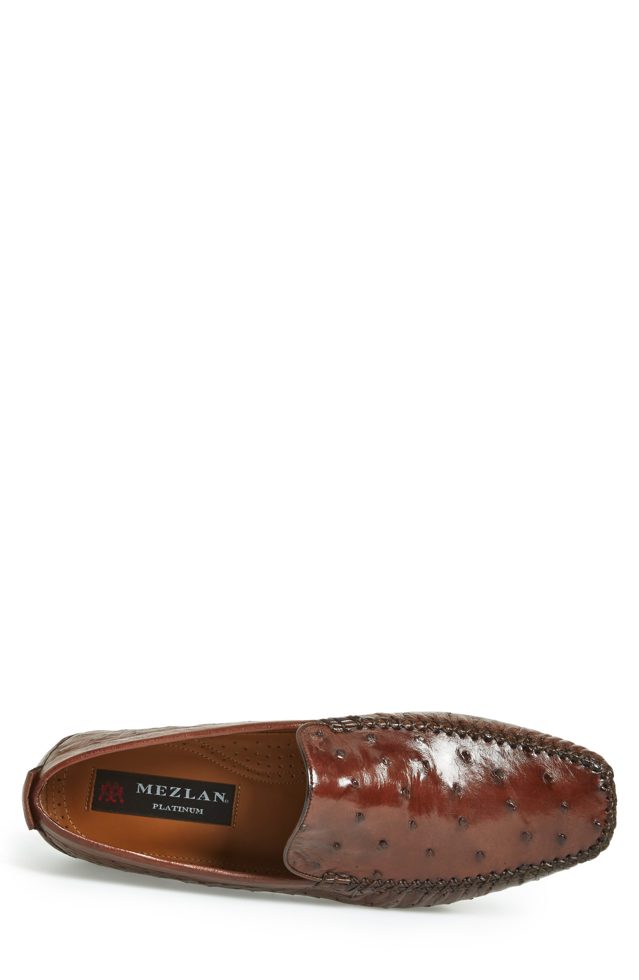 'Rollini' Ostrich Leather Loafer,                             Alternate thumbnail 3, color,                             TOBACCO