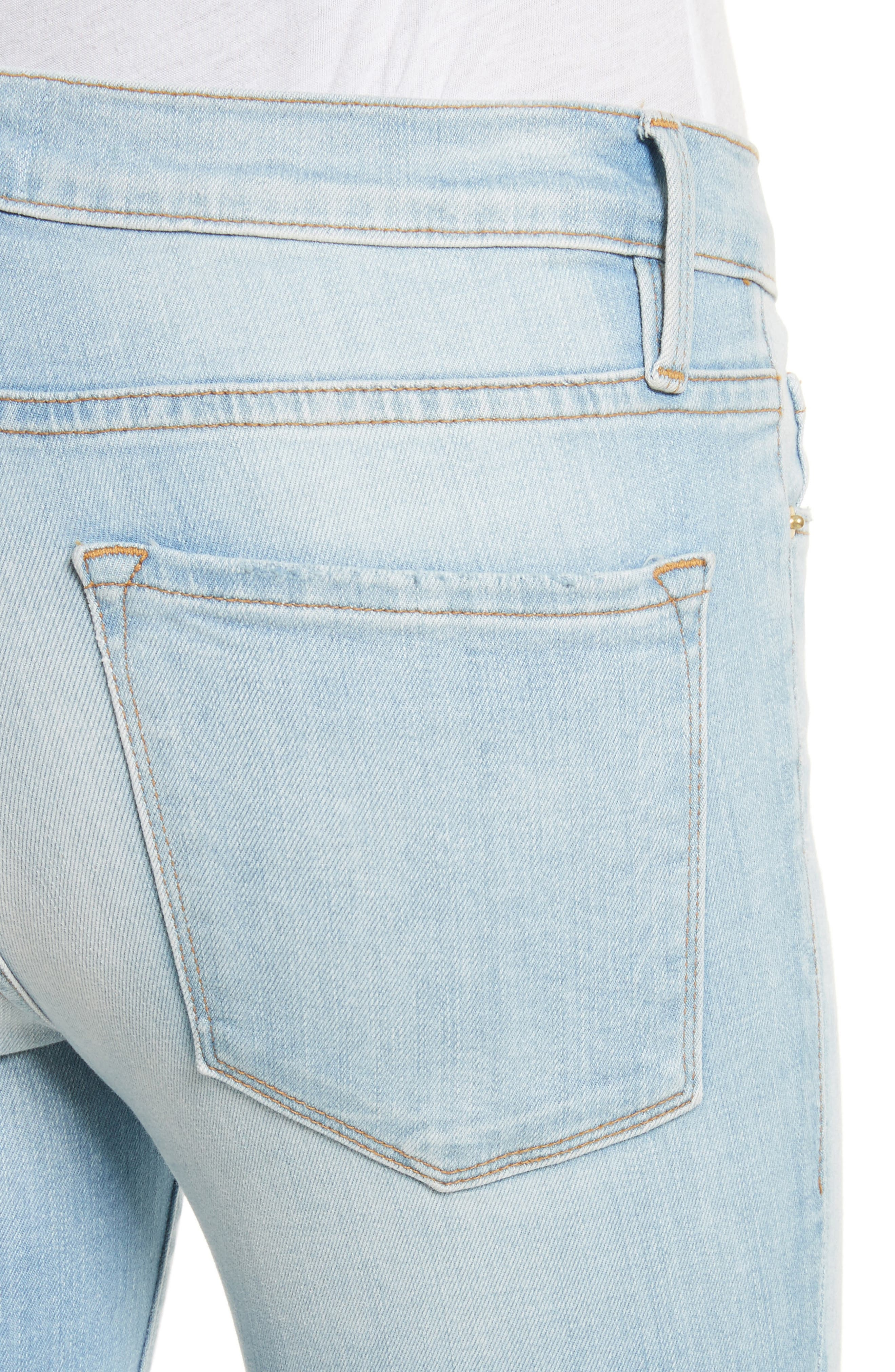 Le Skinny de Jeanne Raw Edge Skinny Jeans,                             Alternate thumbnail 4, color,                             450