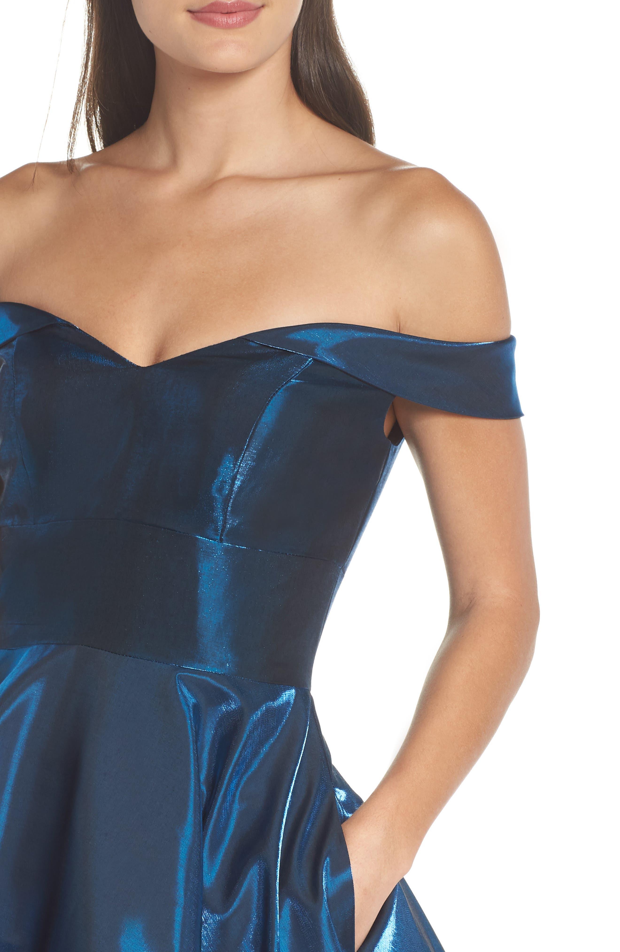 Off the Shoulder Shimmer Party Dress,                             Alternate thumbnail 4, color,                             450