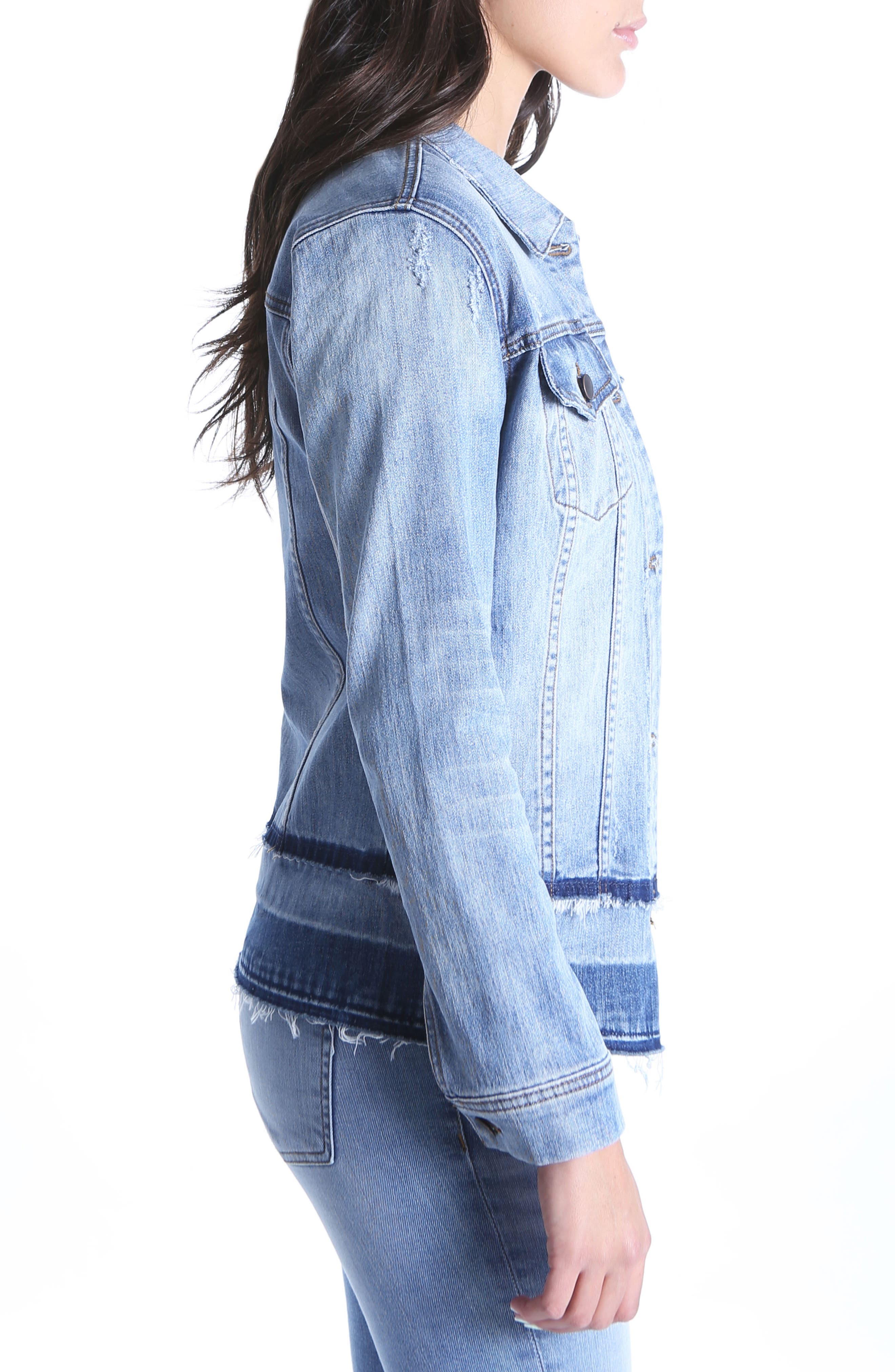 Double Release Hem Denim Jacket,                             Alternate thumbnail 3, color,                             419