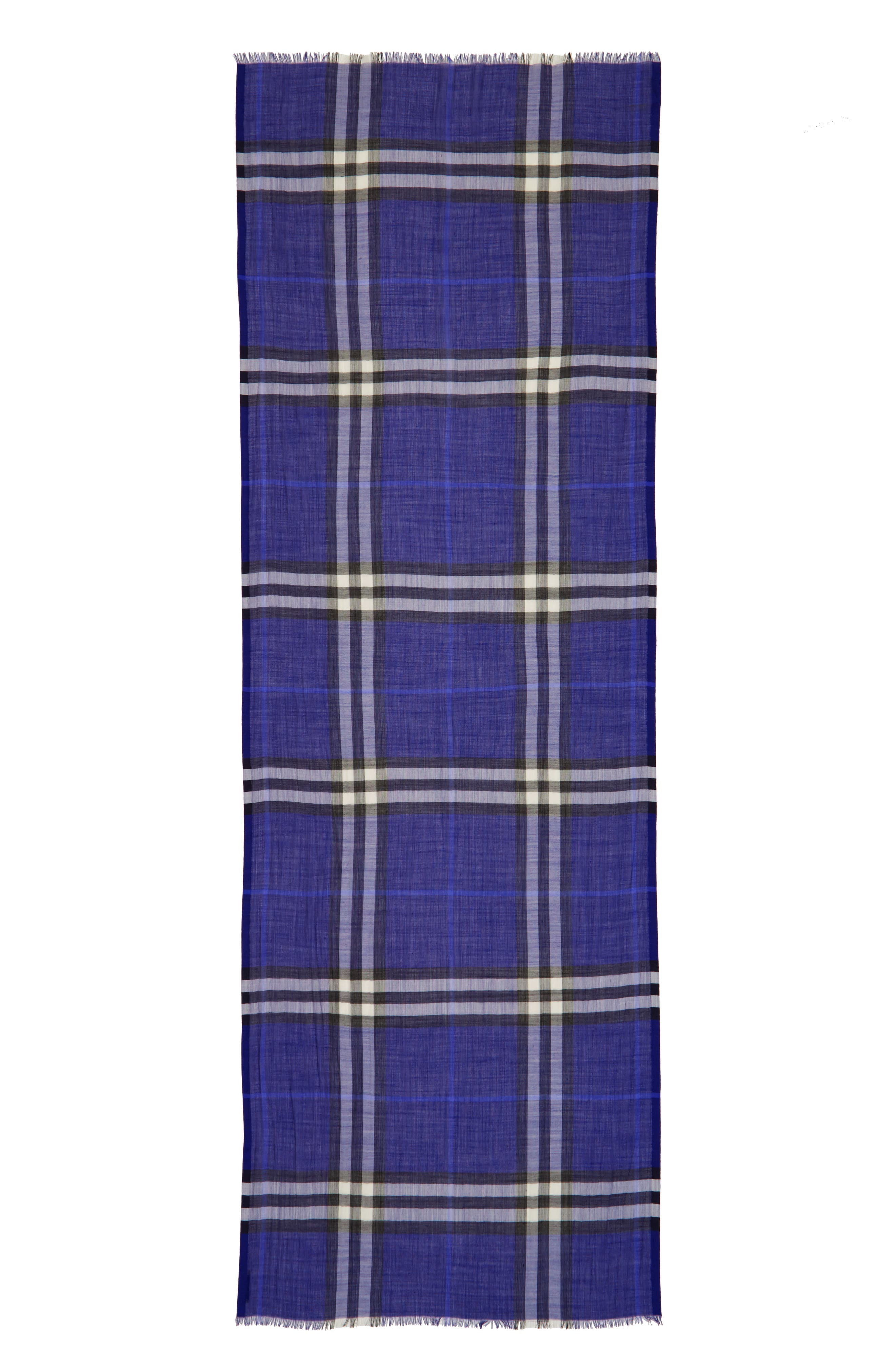 Giant Check Print Wool & Silk Scarf,                             Alternate thumbnail 98, color,