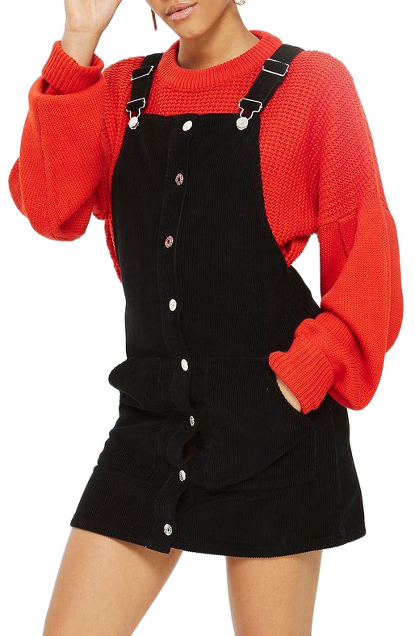 Button Front Corduroy Pinafore Dress,                             Main thumbnail 1, color,