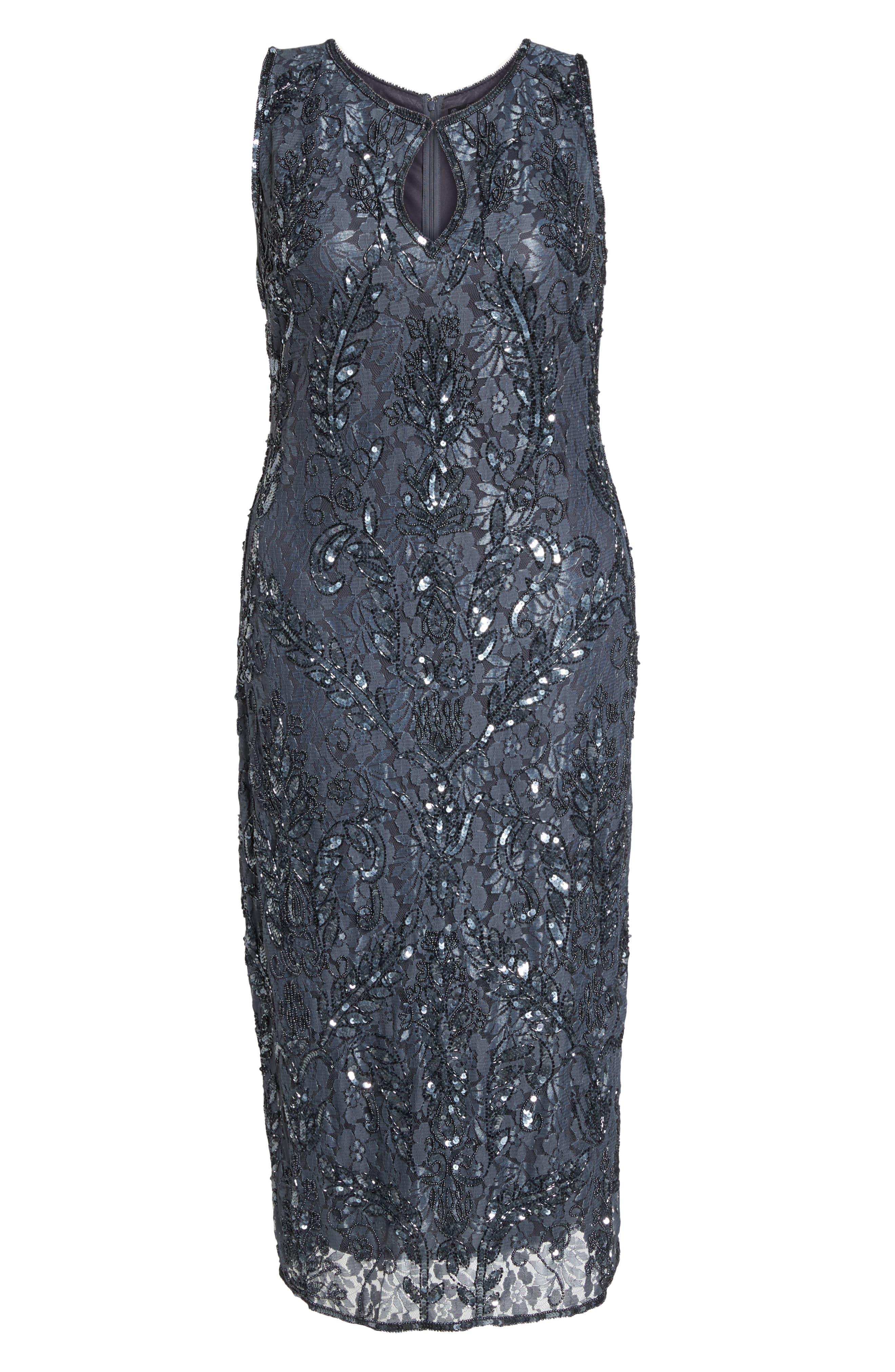 Sequin Lace Sheath Dress,                             Alternate thumbnail 7, color,                             020