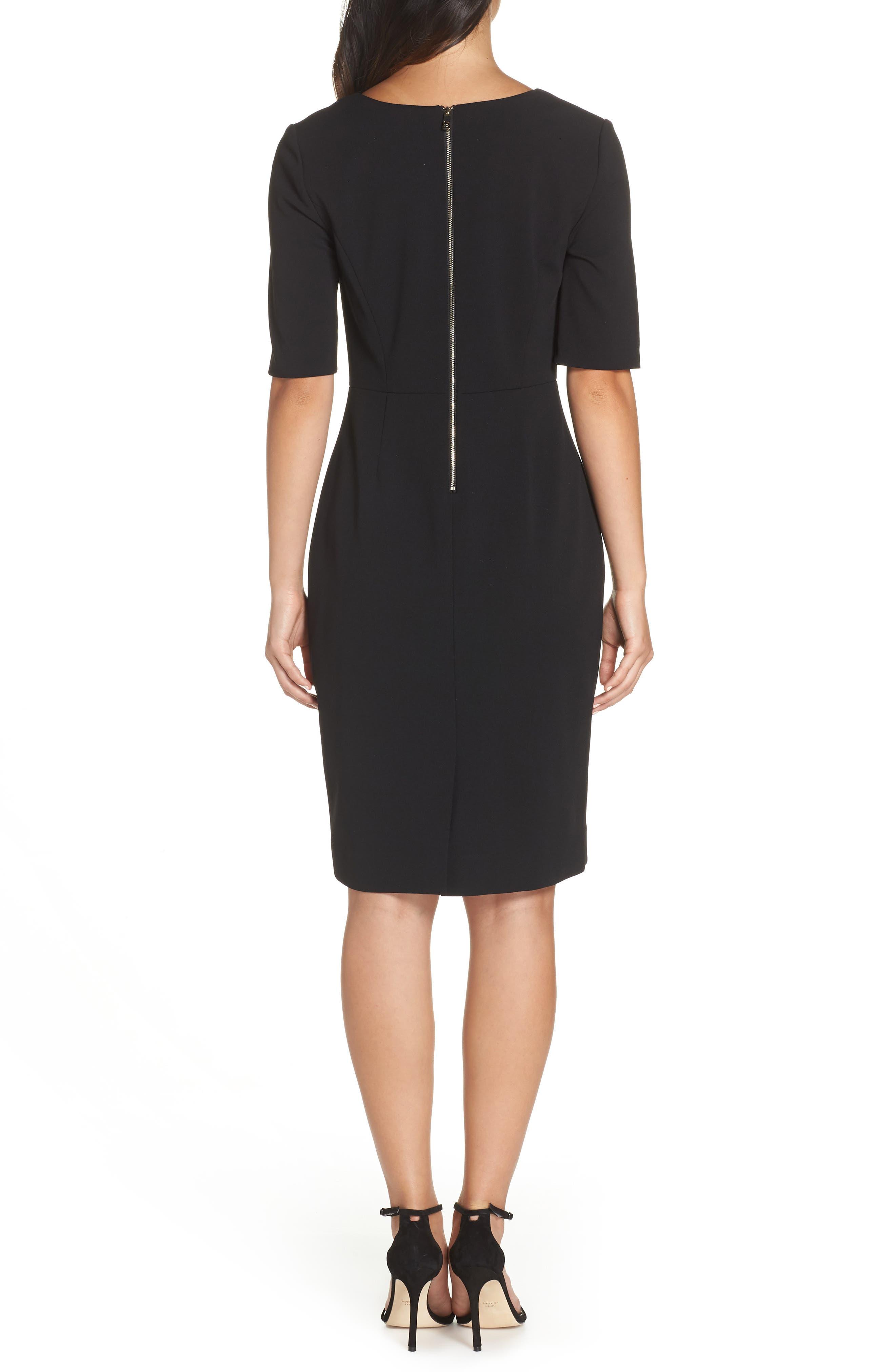 Scuba Crepe Dress,                             Alternate thumbnail 2, color,                             BLACK