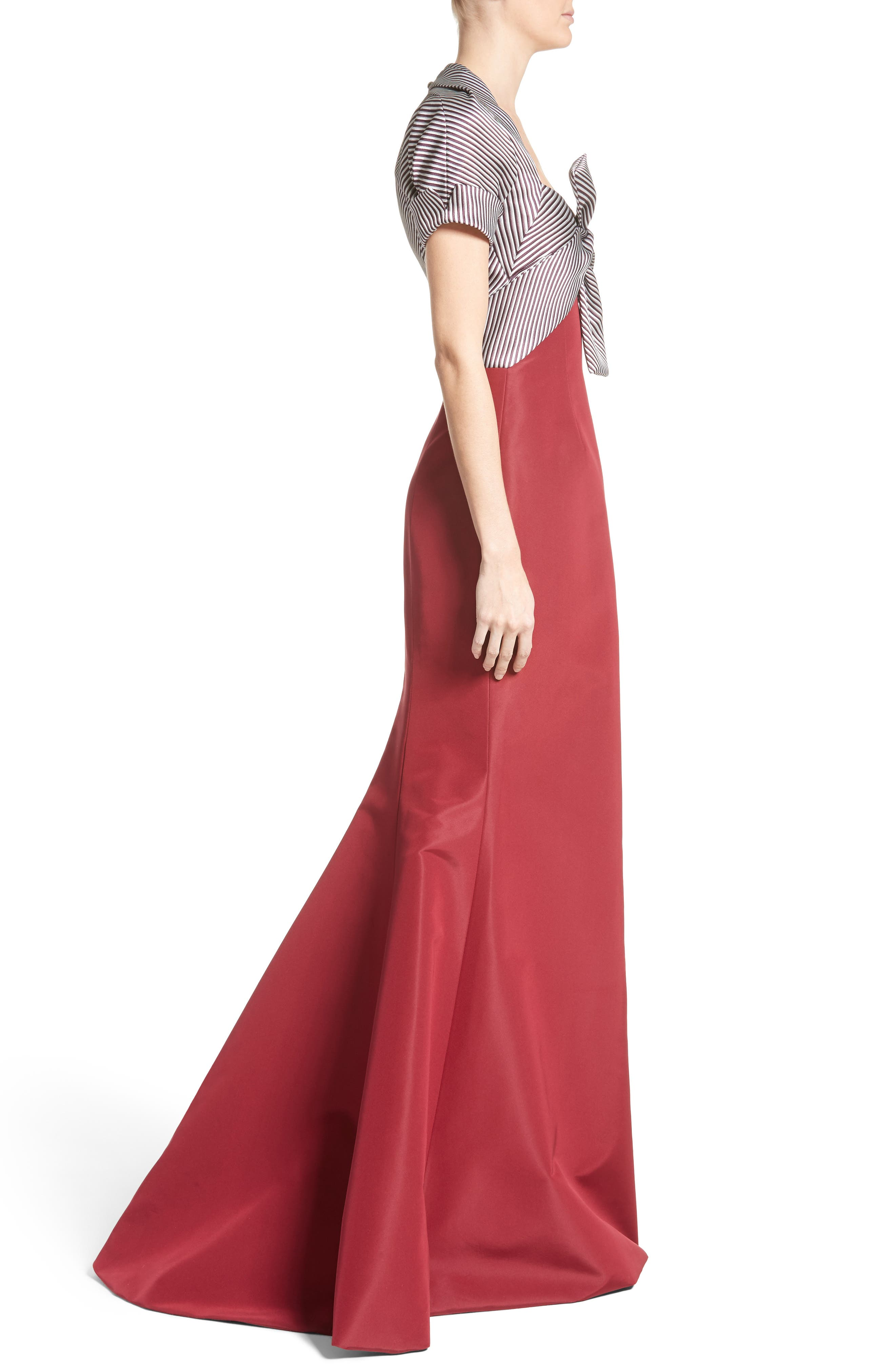 Bow Front Colorblock Gown,                             Alternate thumbnail 3, color,                             600
