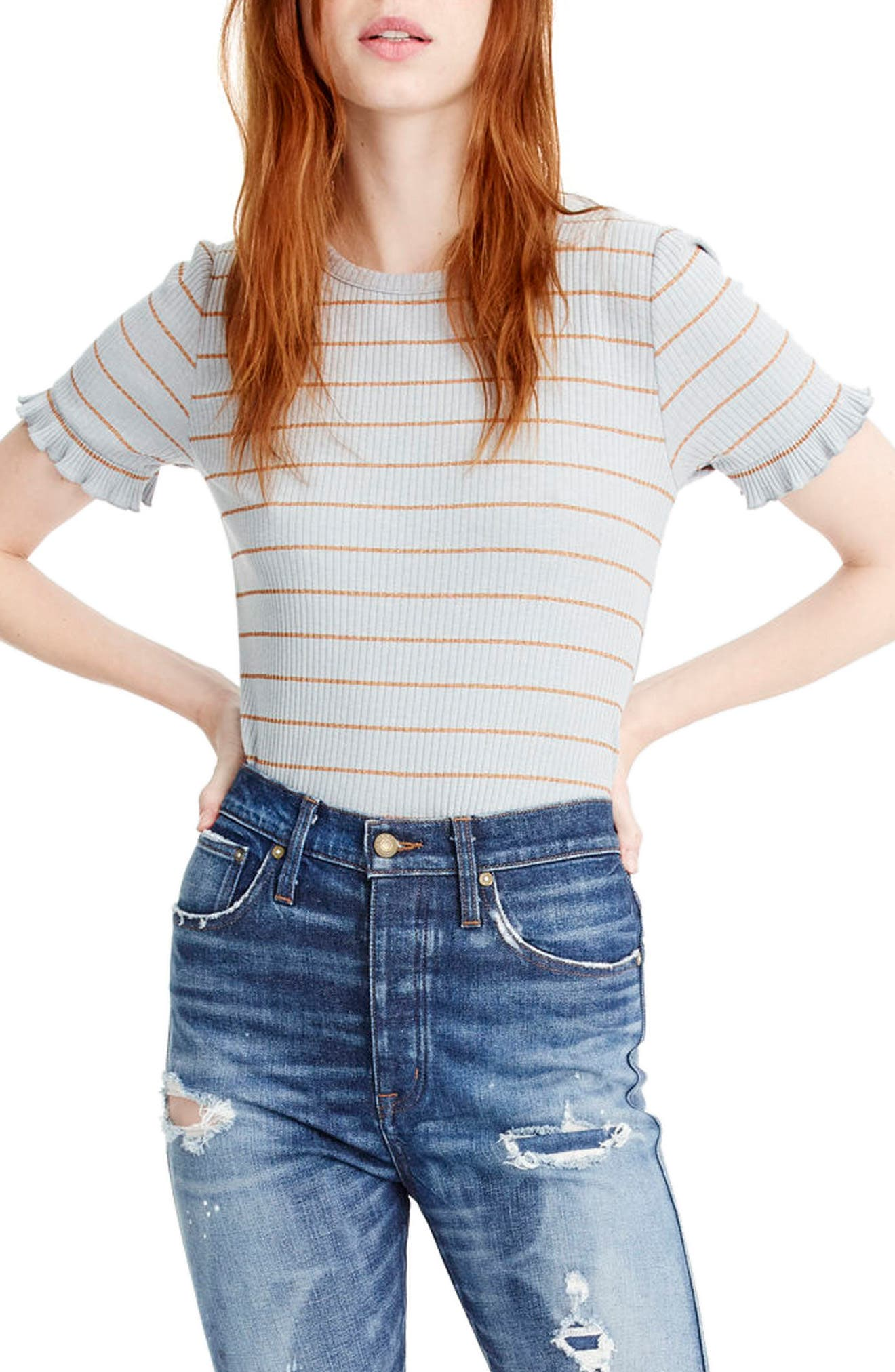 Ribbed Stripe Tee with Ruffle Sleeves,                             Main thumbnail 1, color,                             090
